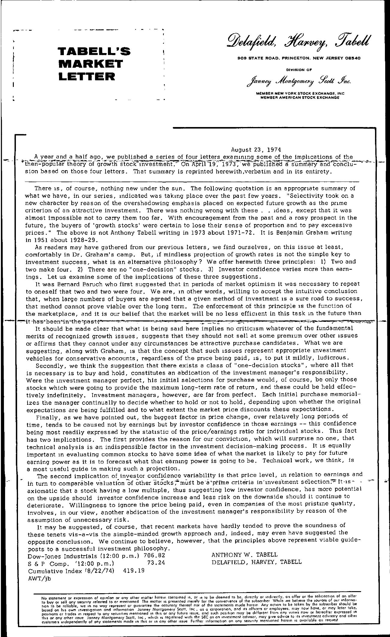 Tabell's Market Letter - August 23, 1974