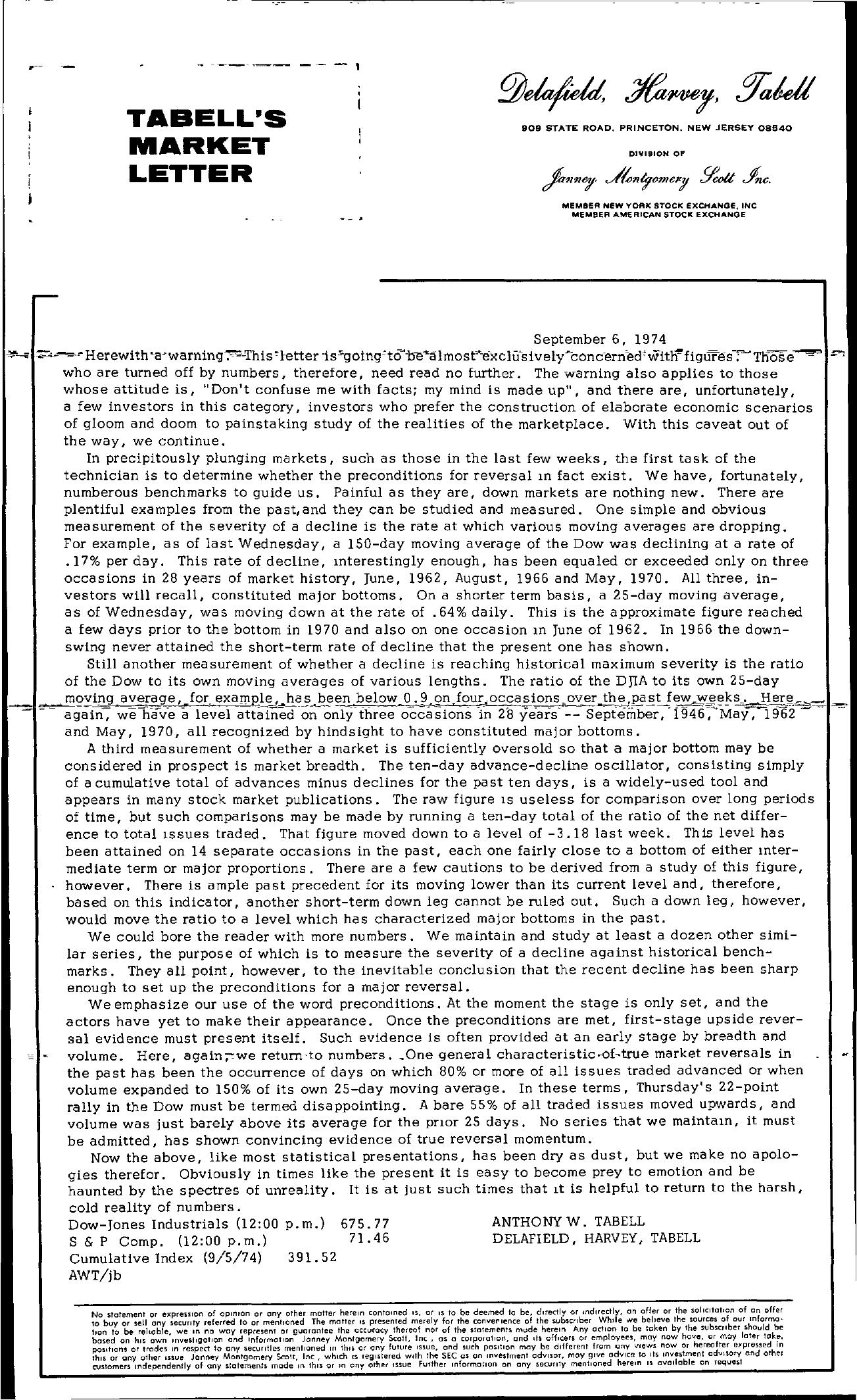 Tabell's Market Letter - September 06, 1974