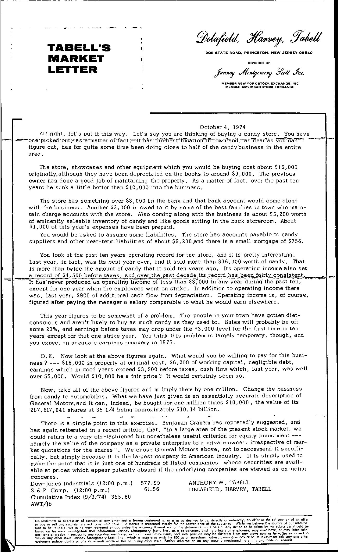 Tabell's Market Letter - October 04, 1974