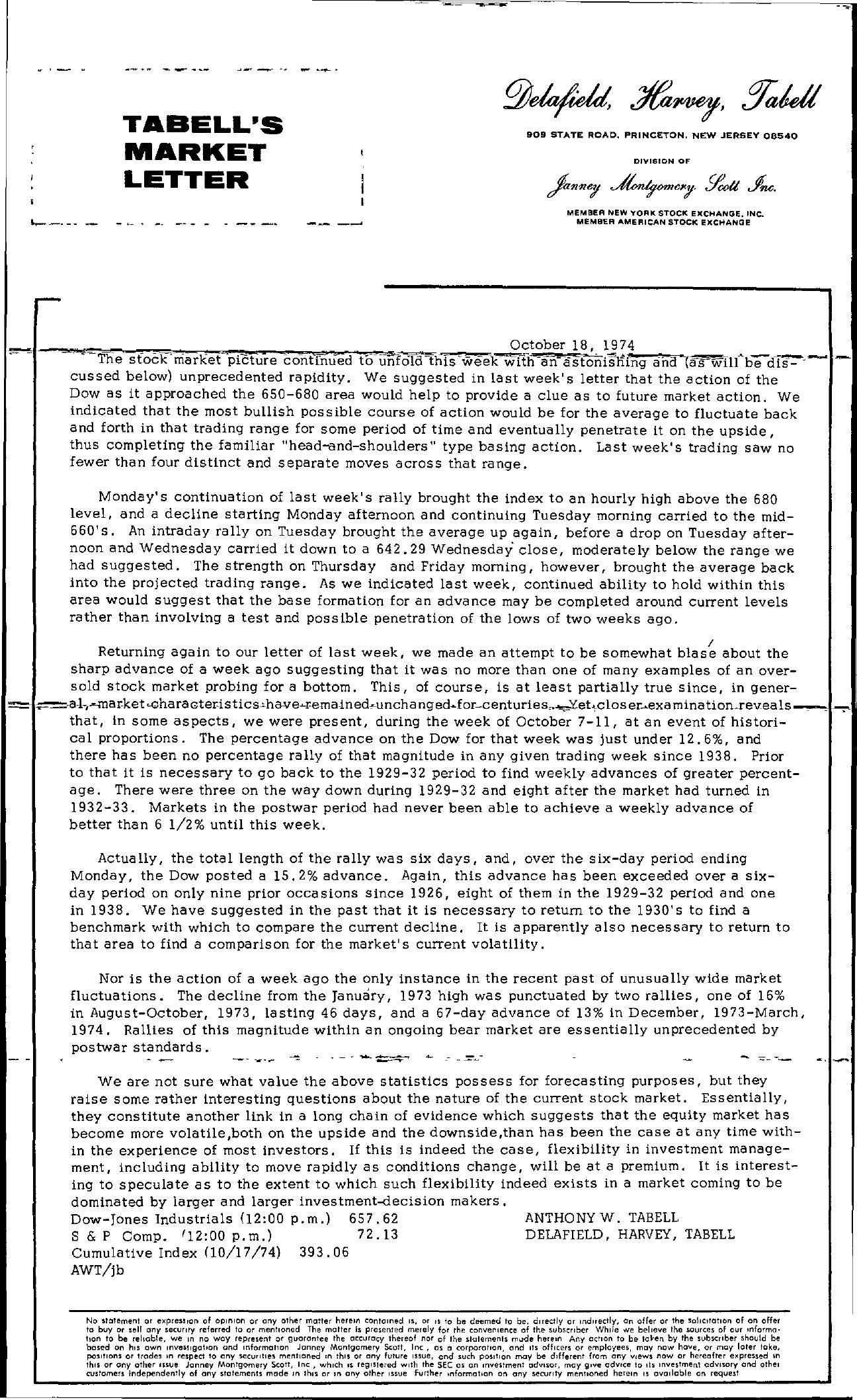 Tabell's Market Letter - October 18, 1974