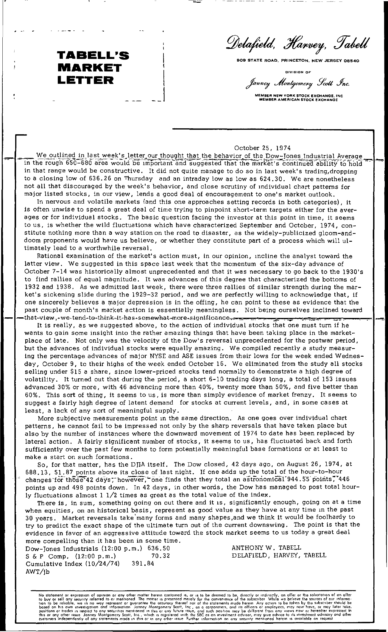 Tabell's Market Letter - October 25, 1974
