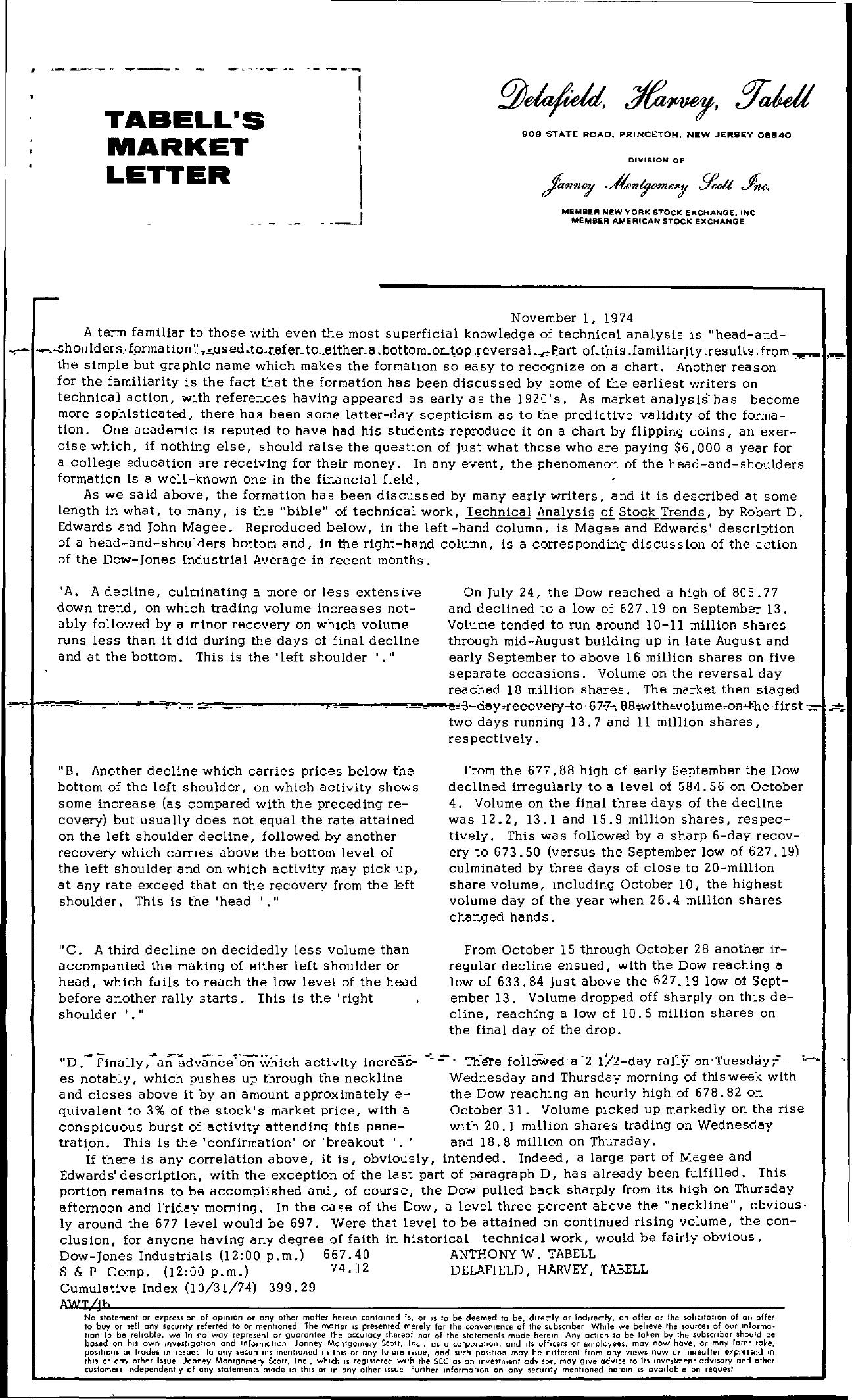 Tabell's Market Letter - November 01, 1974