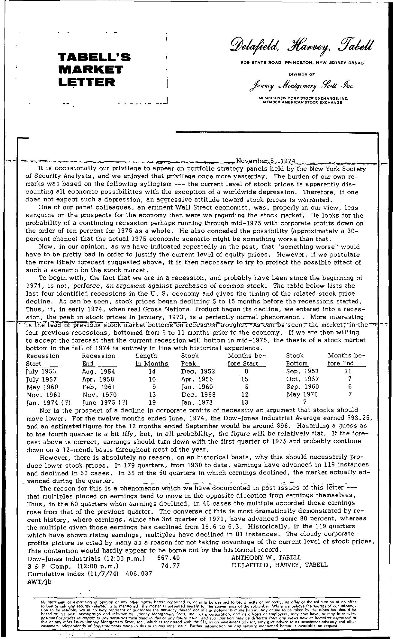Tabell's Market Letter - November 08, 1974