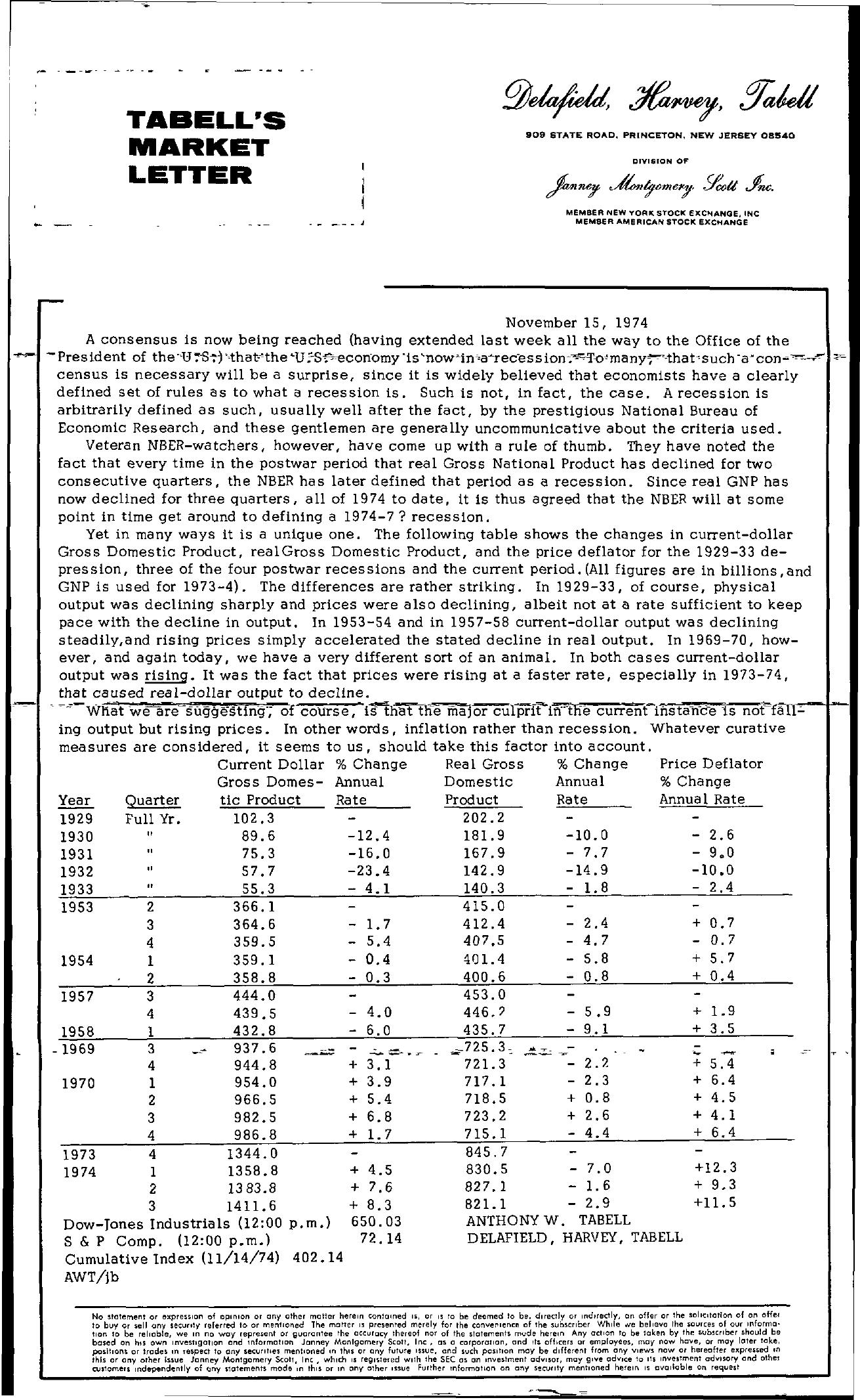 Tabell's Market Letter - November 15, 1974