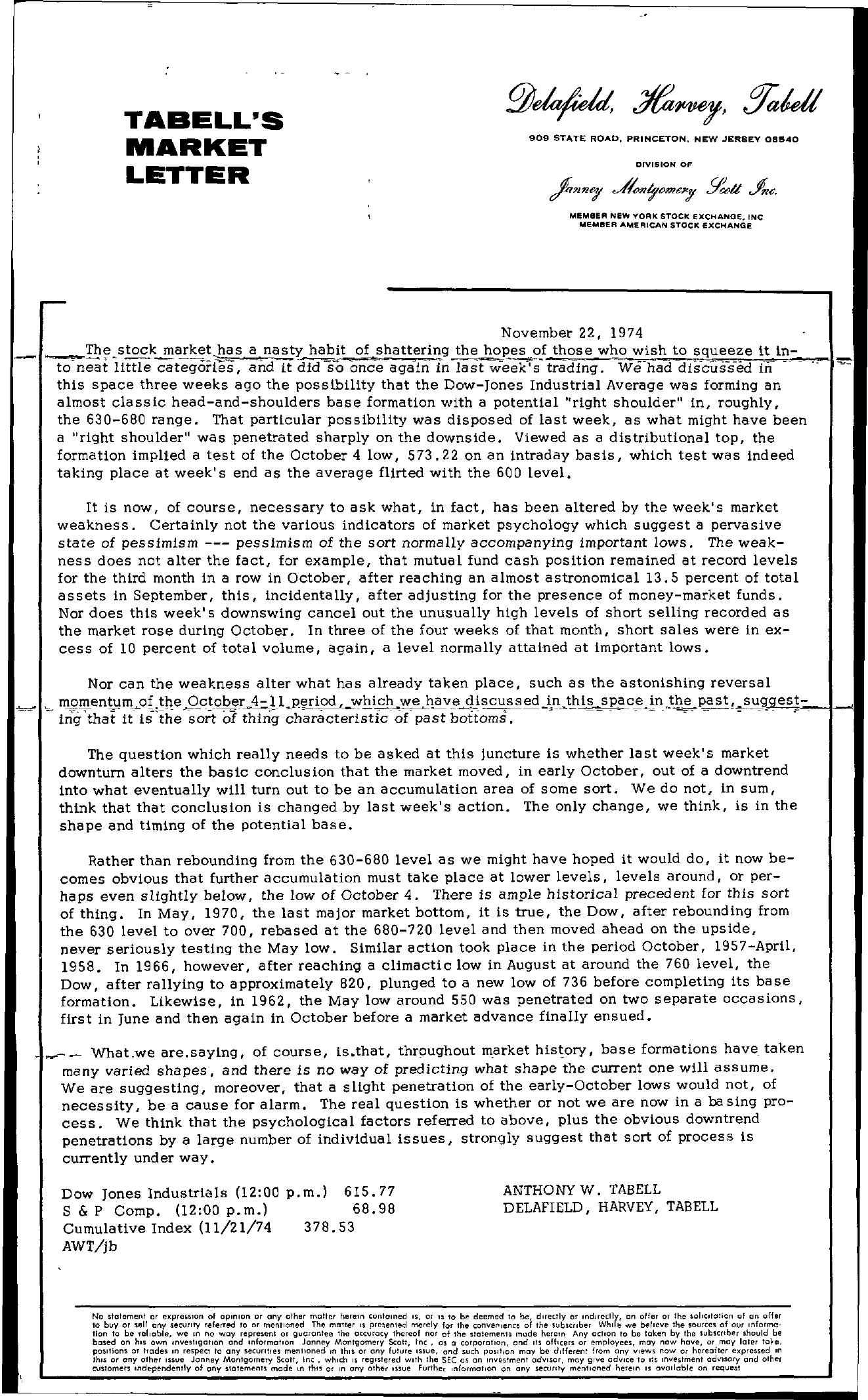 Tabell's Market Letter - November 22, 1974
