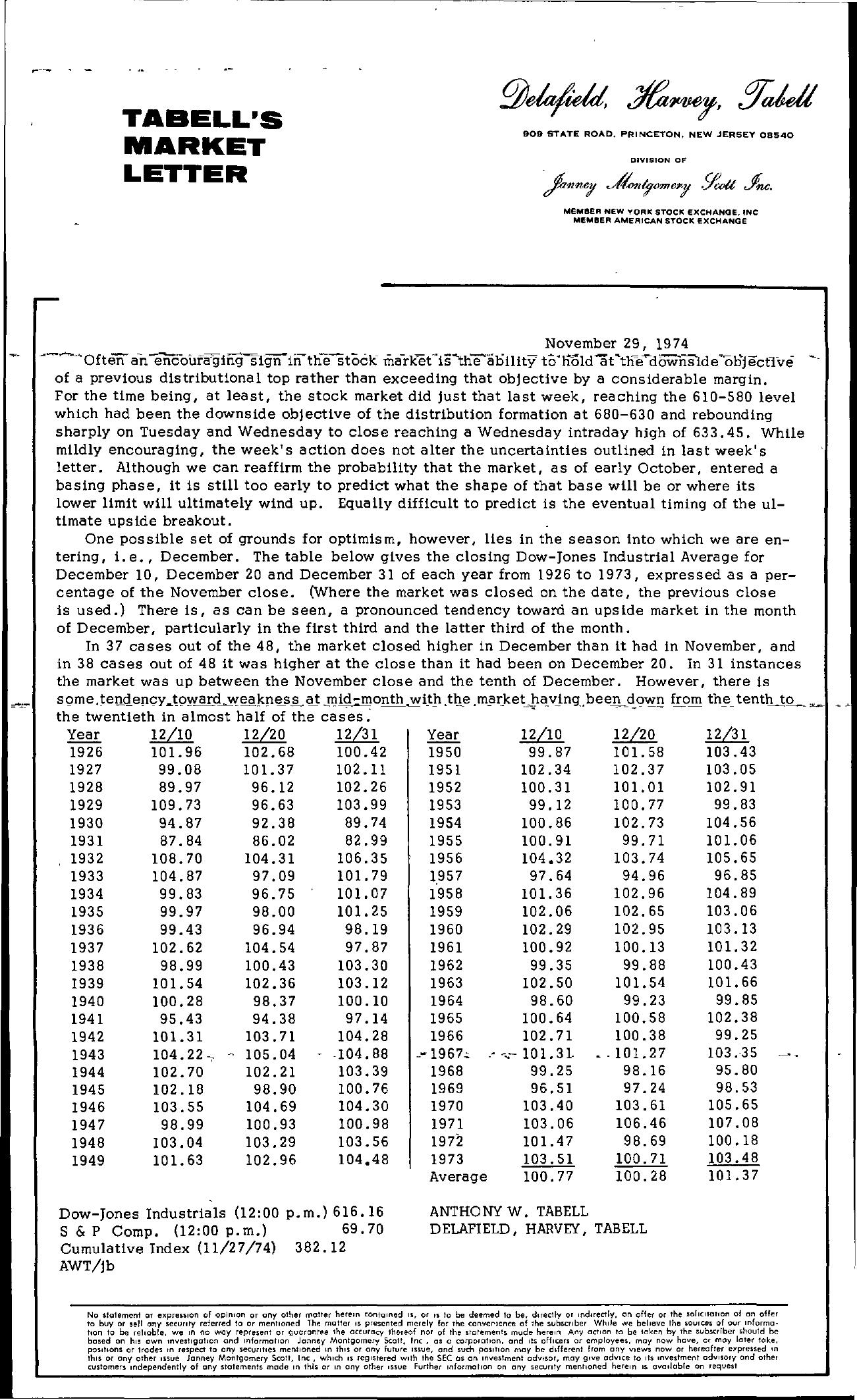 Tabell's Market Letter - November 29, 1974