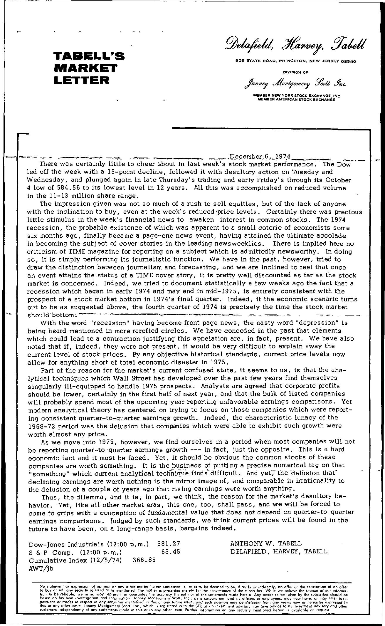 Tabell's Market Letter - December 06, 1974