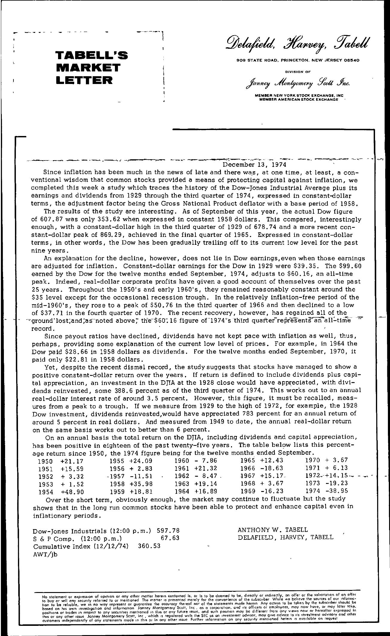 Tabell's Market Letter - December 13, 1974