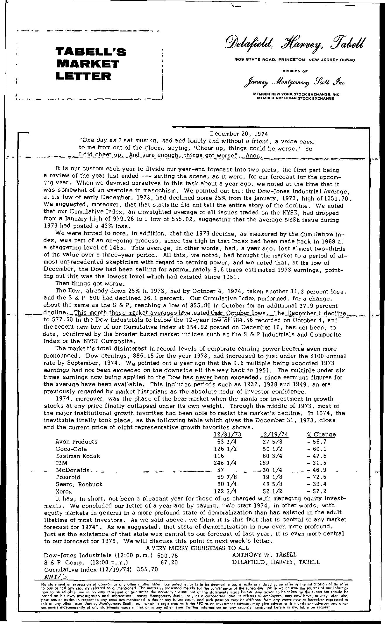 Tabell's Market Letter - December 20, 1974