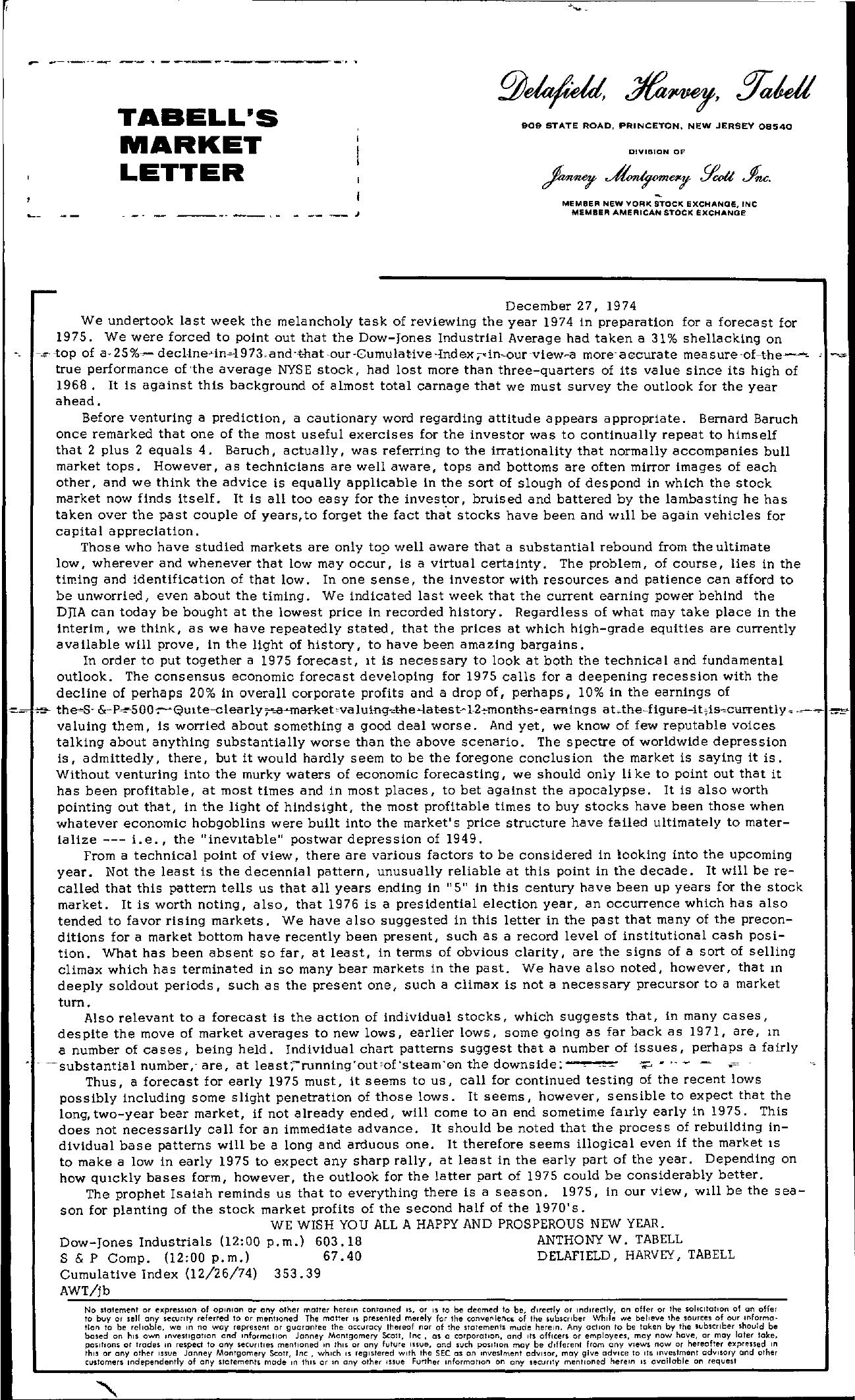 Tabell's Market Letter - December 27, 1974