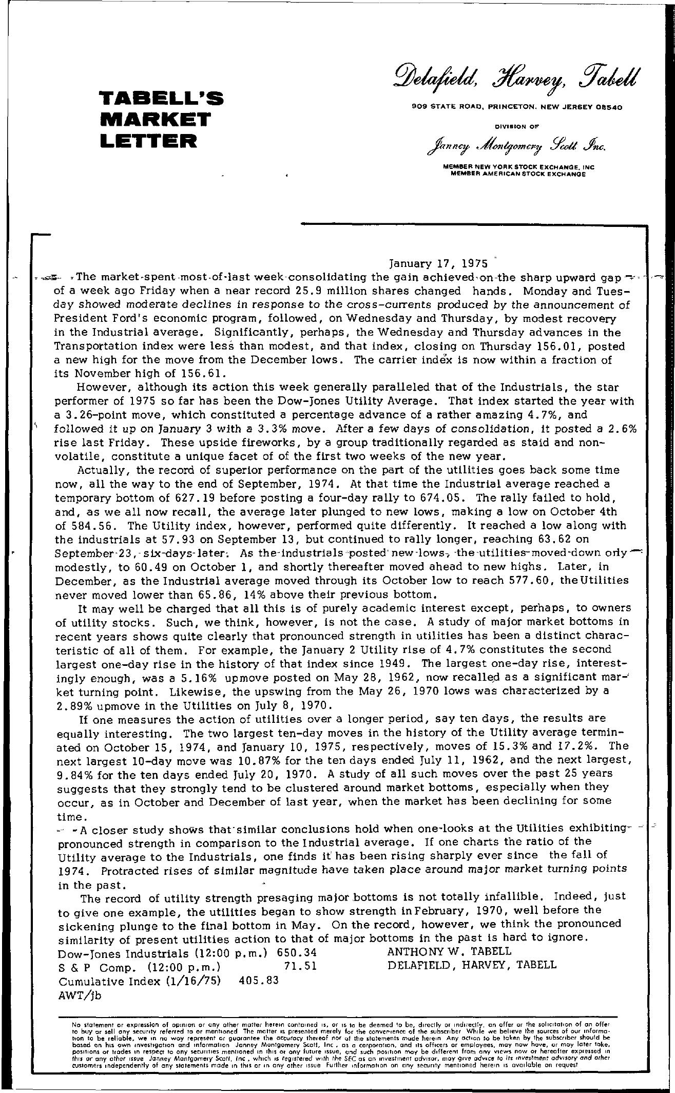 Tabell's Market Letter - January 17, 1975