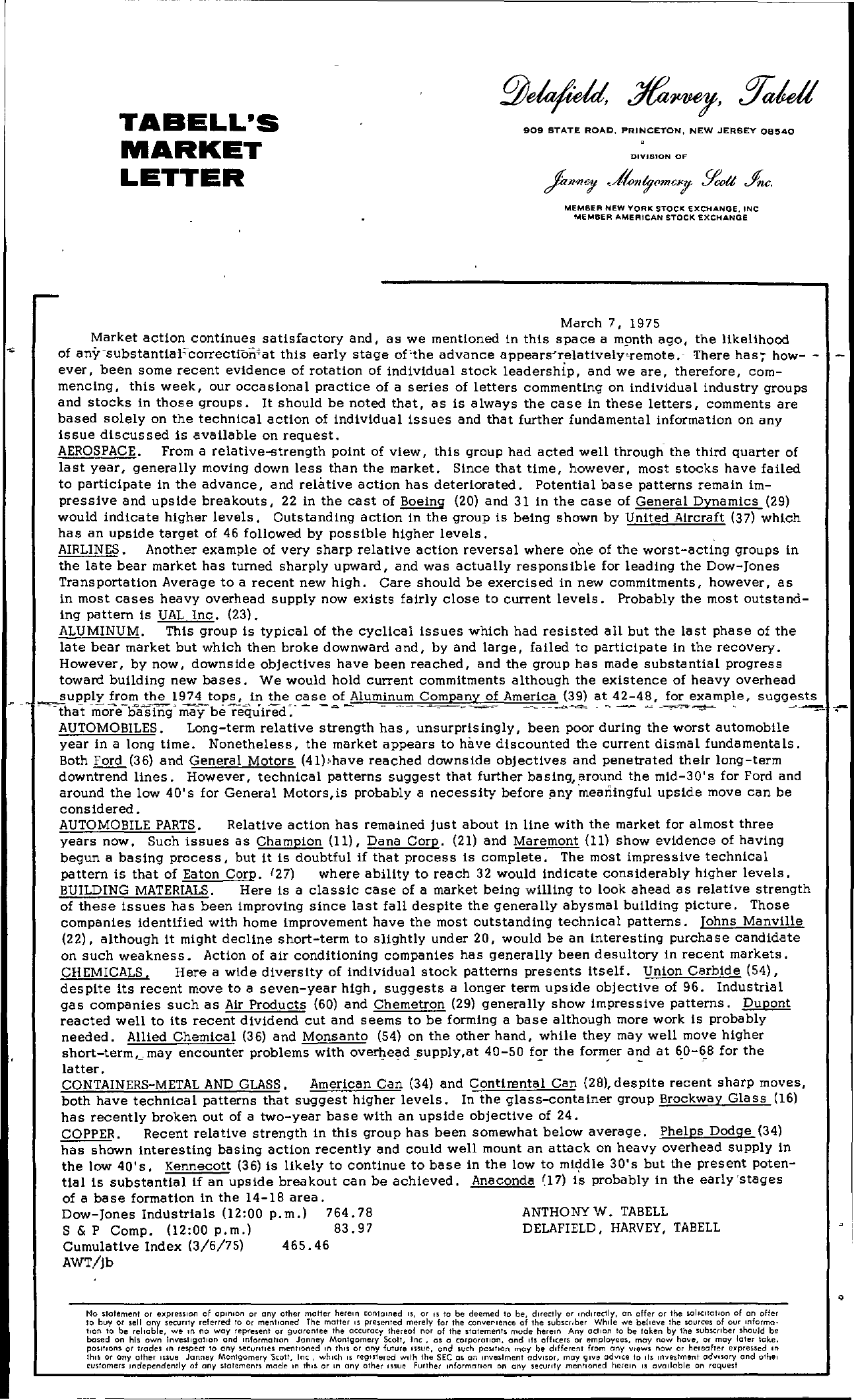 Tabell's Market Letter - March 07, 1975