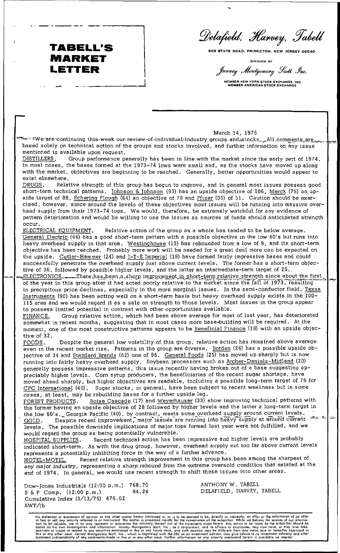 Tabell's Market Letter - March 14, 1975
