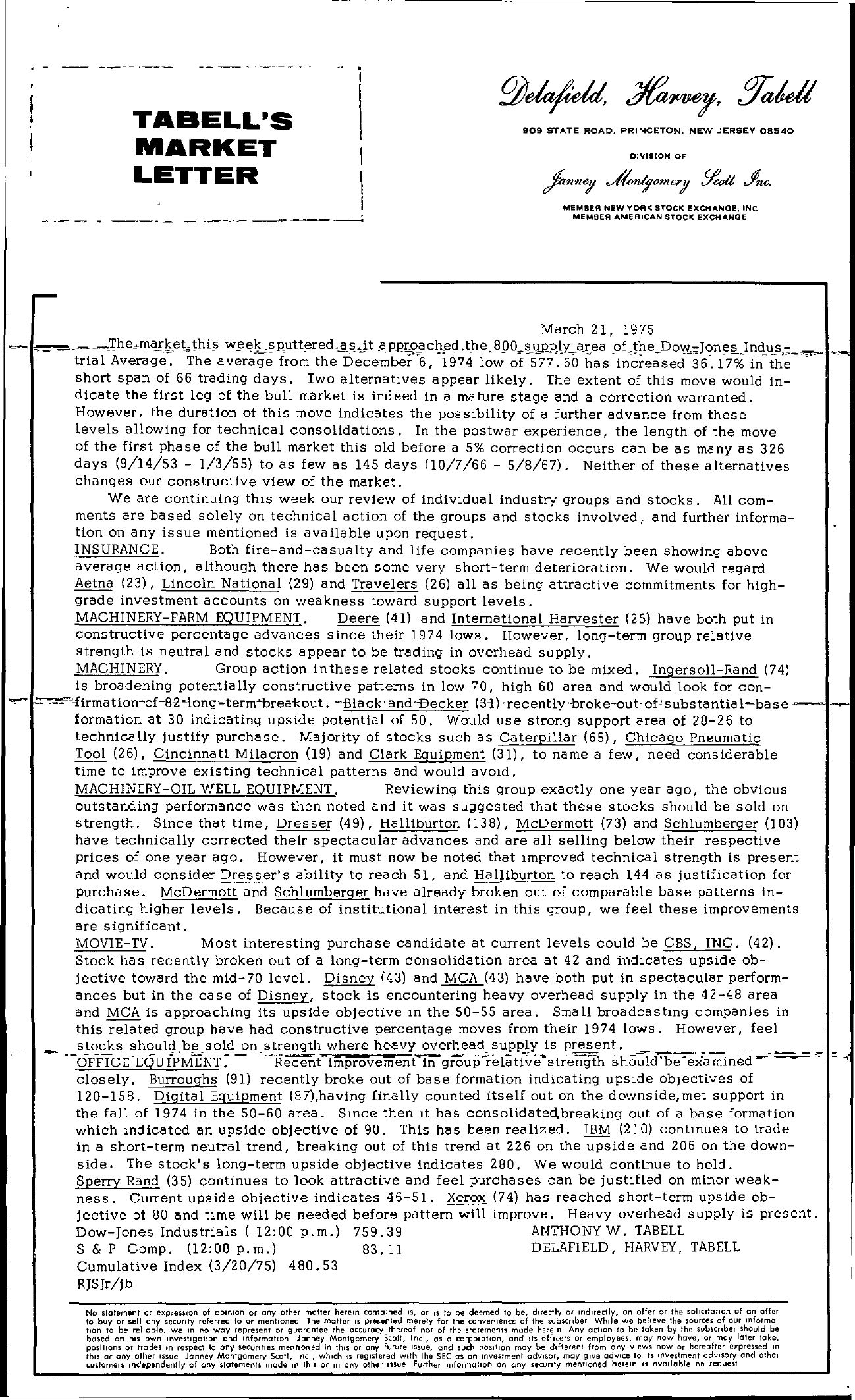 Tabell's Market Letter - March 21, 1975