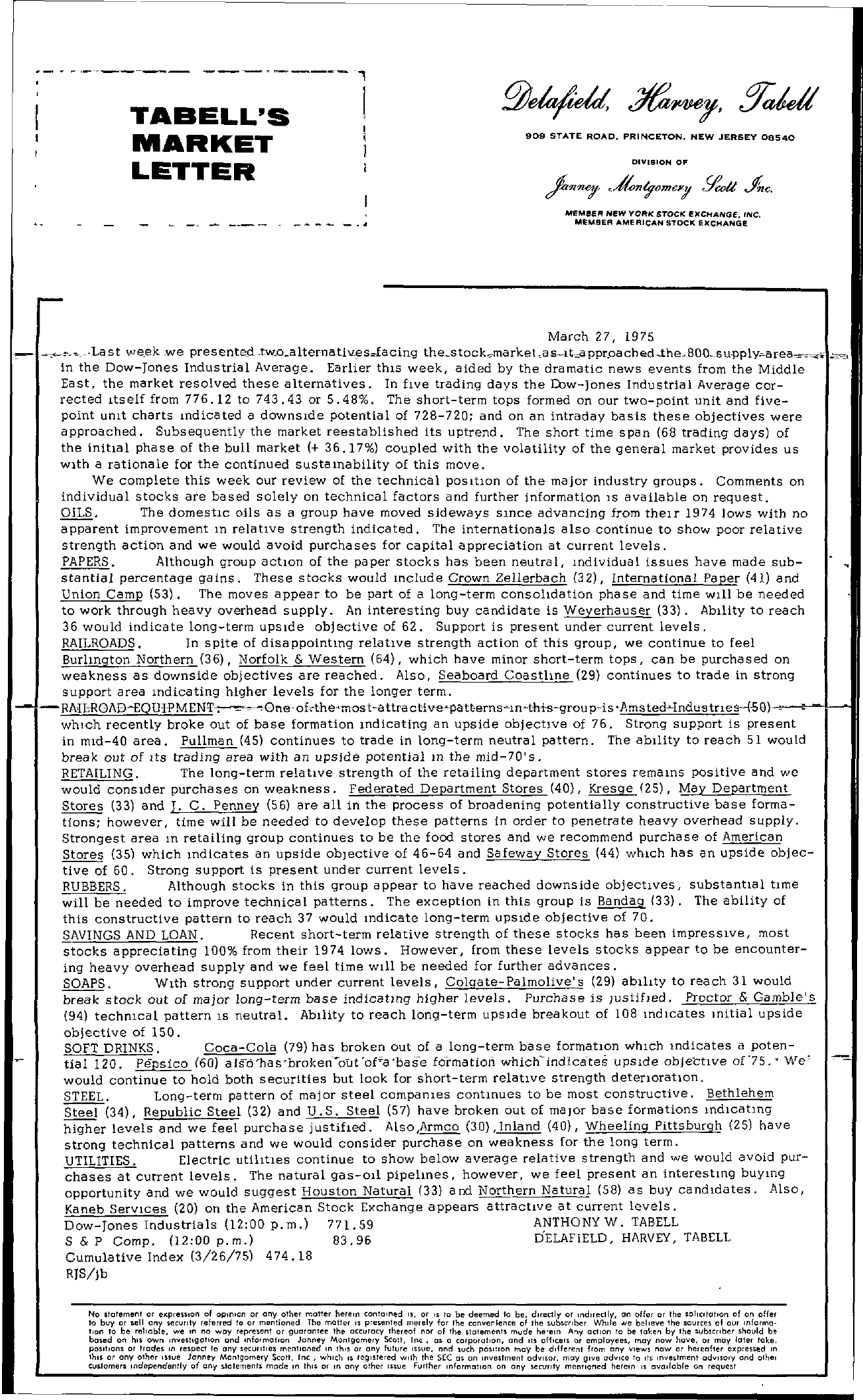 Tabell's Market Letter - March 27, 1975