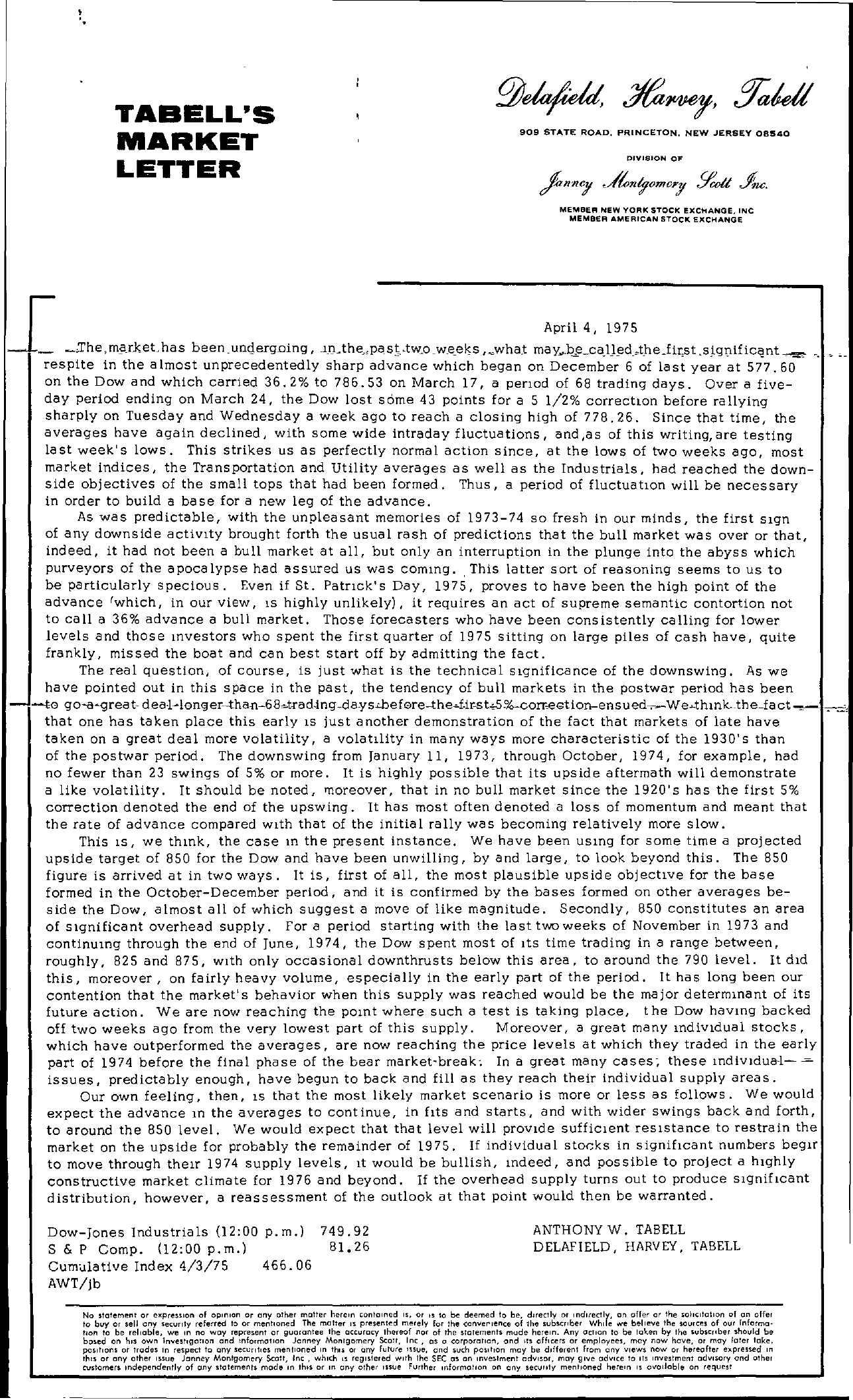 Tabell's Market Letter - April 04, 1975