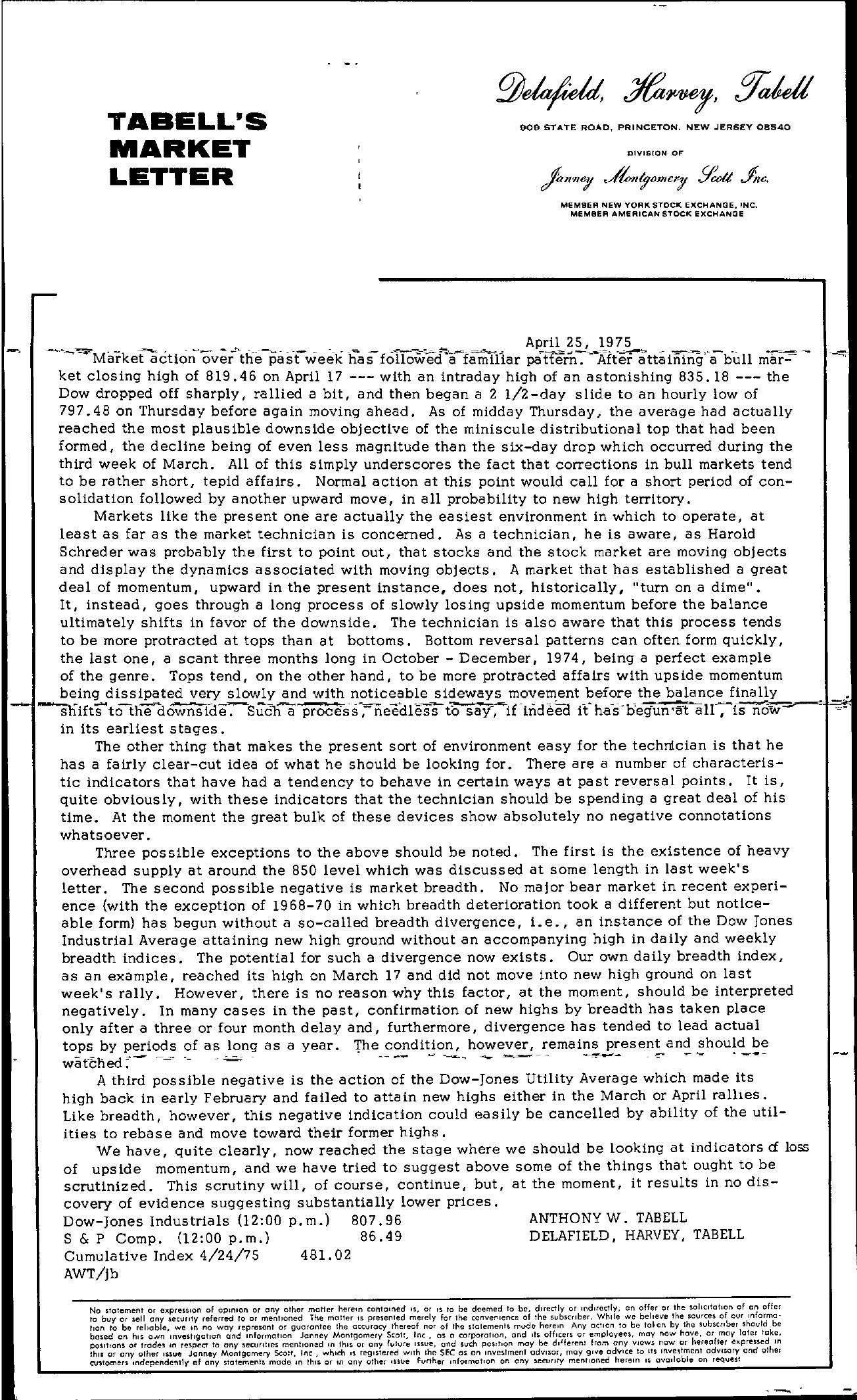 Tabell's Market Letter - April 25, 1975