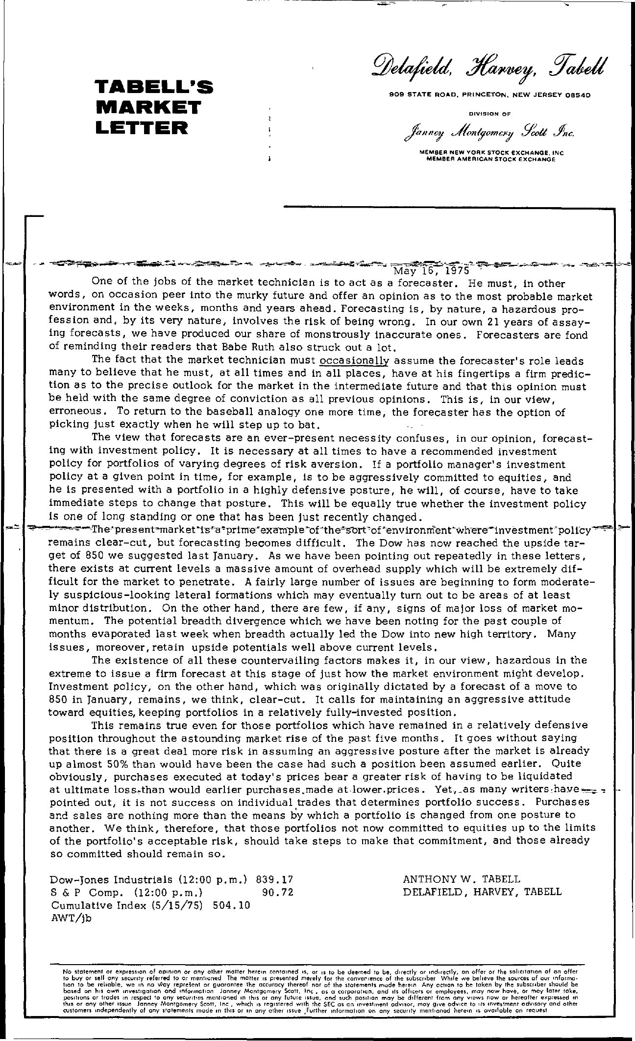 Tabell's Market Letter - May 16, 1975