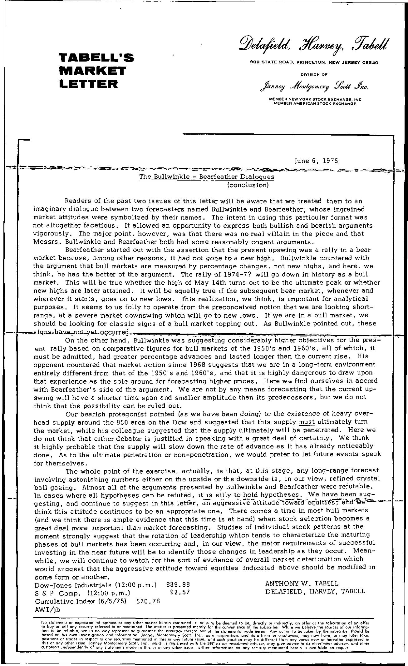 Tabell's Market Letter - June 06, 1975