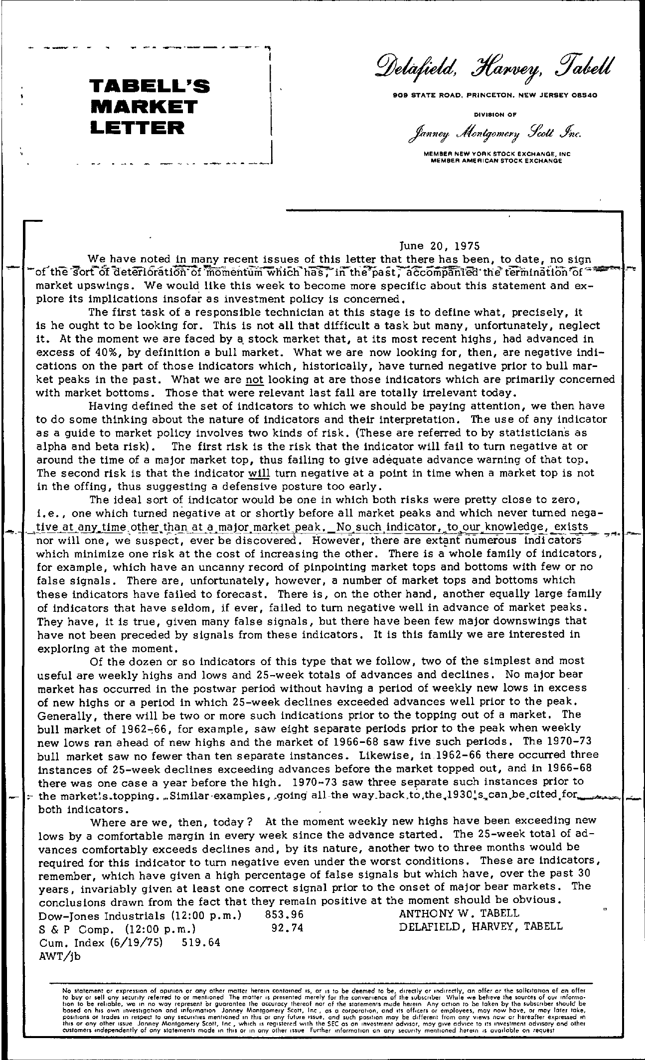 Tabell's Market Letter - June 20, 1975