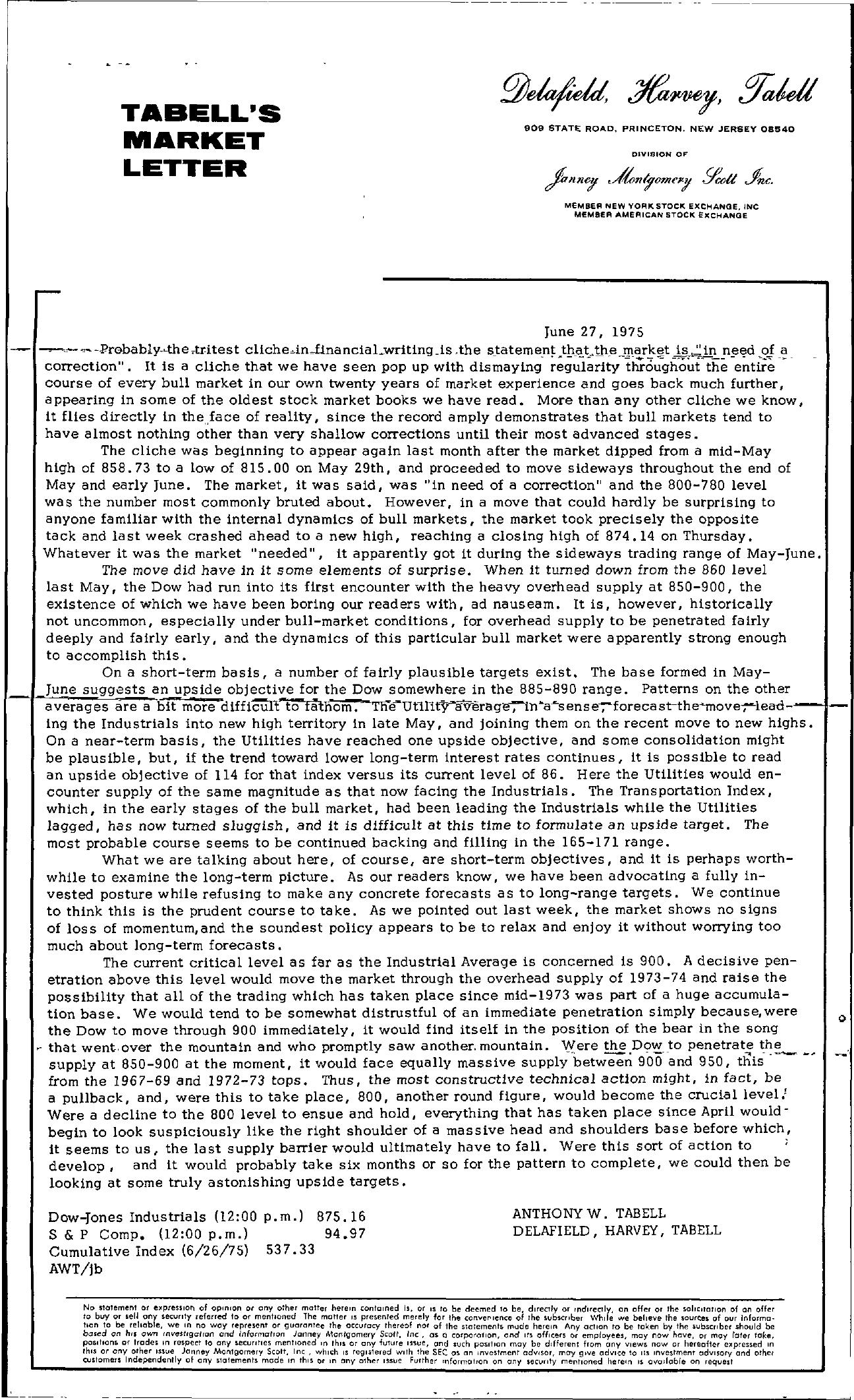 Tabell's Market Letter - June 27, 1975