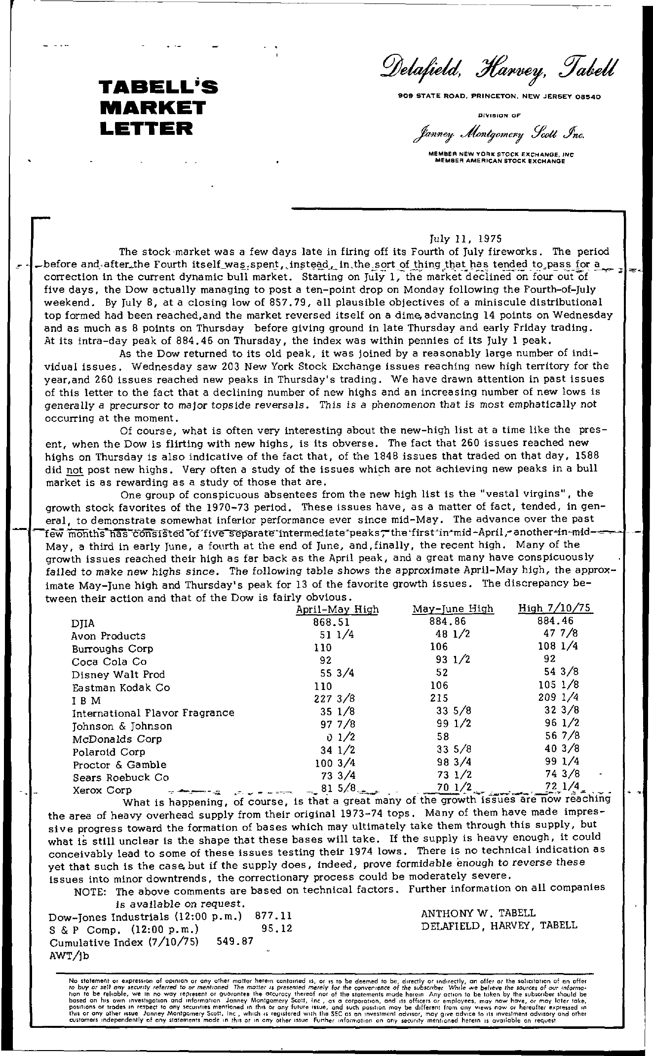Tabell's Market Letter - July 11, 1975