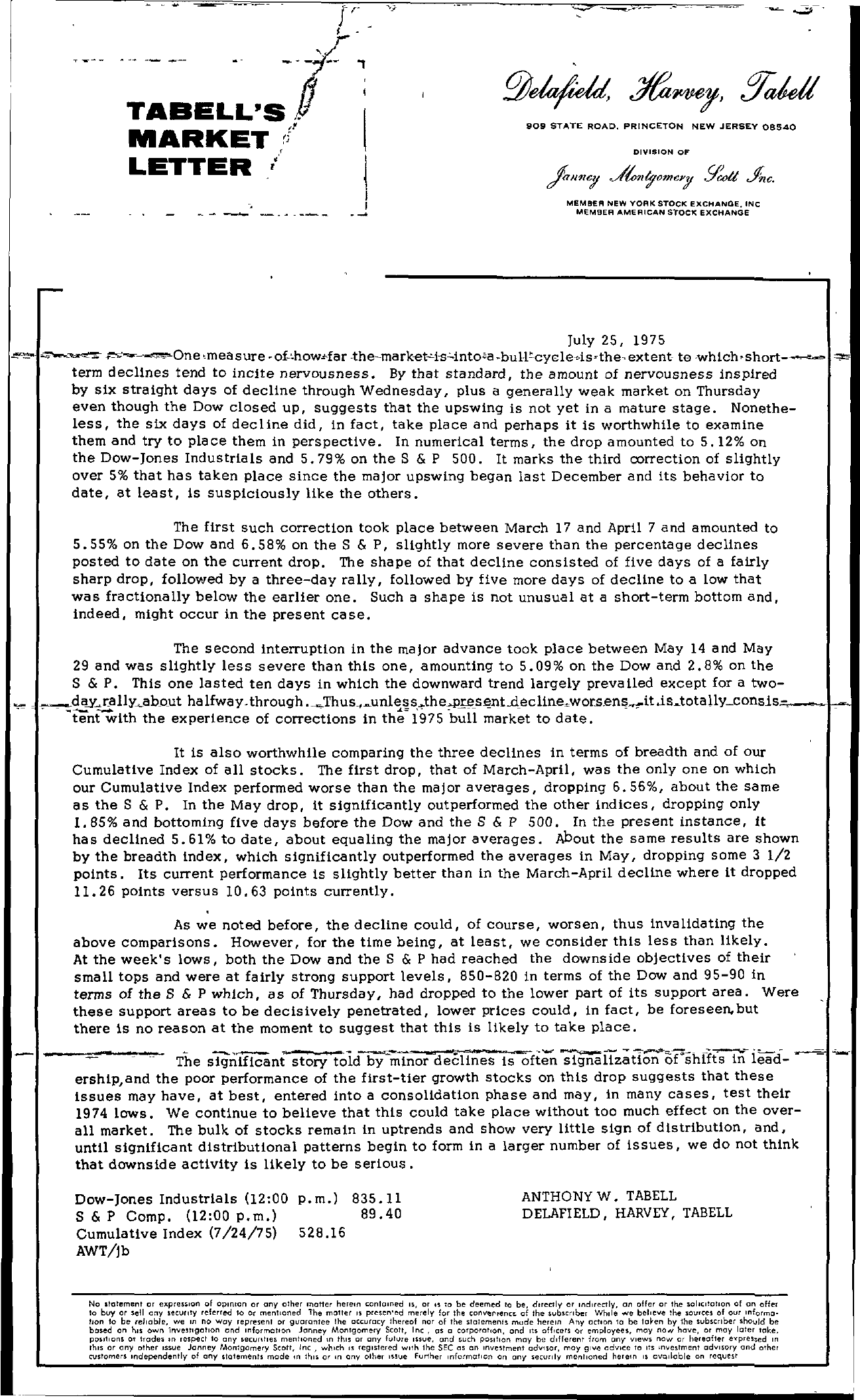 Tabell's Market Letter - July 25, 1975