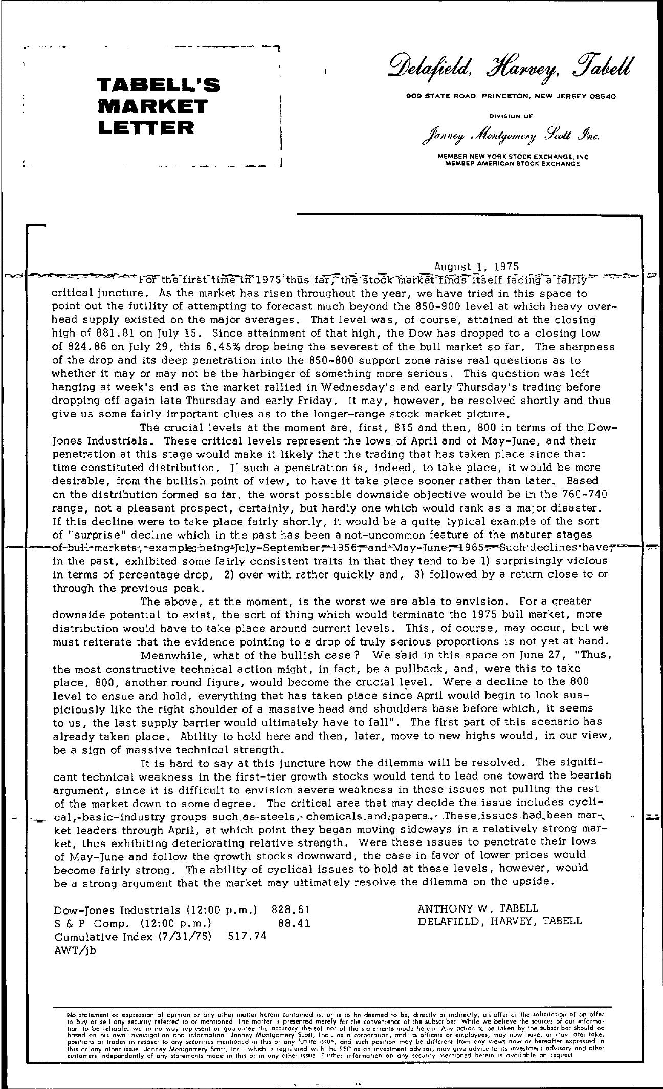Tabell's Market Letter - August 01, 1975