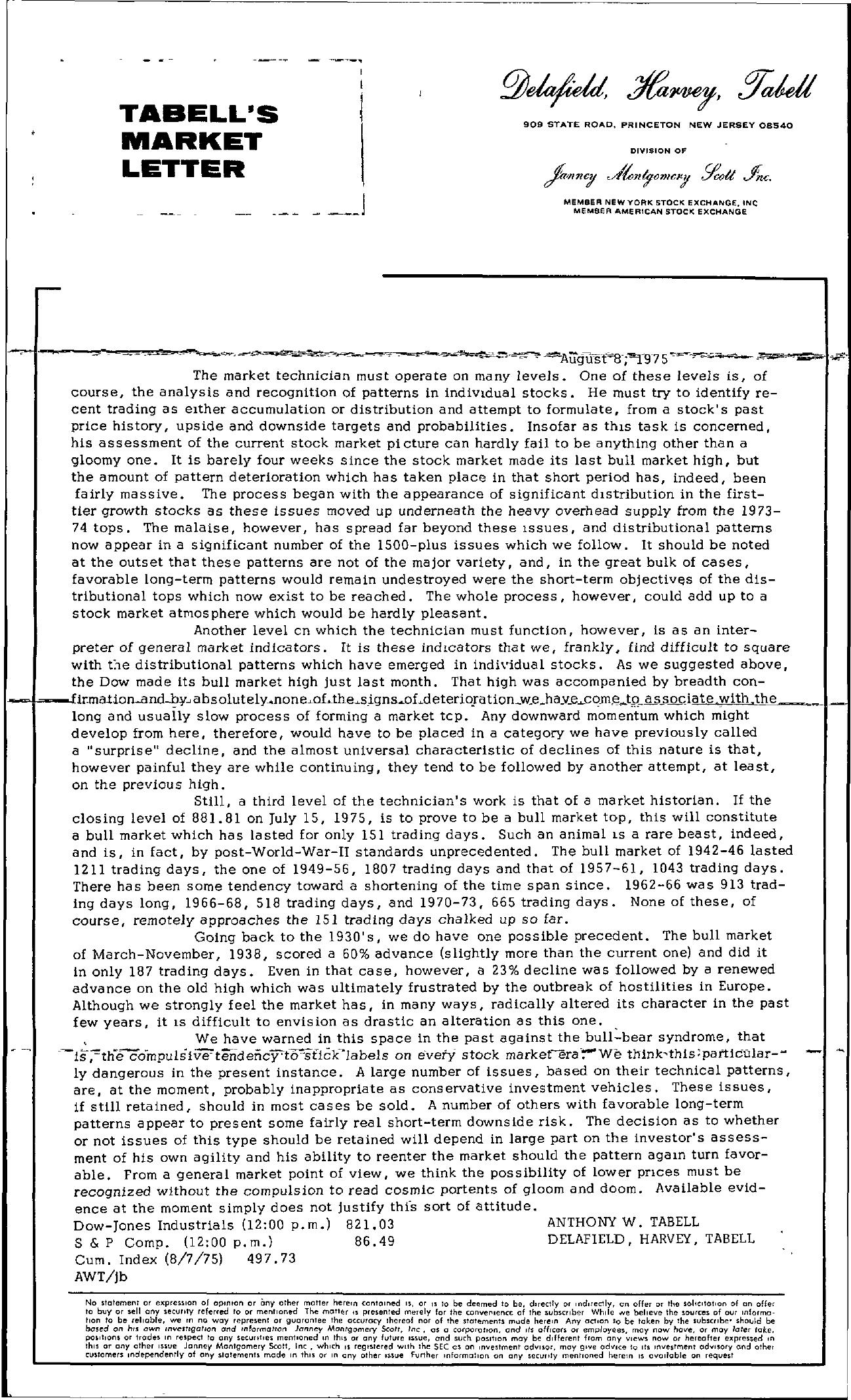 Tabell's Market Letter - August 08, 1975