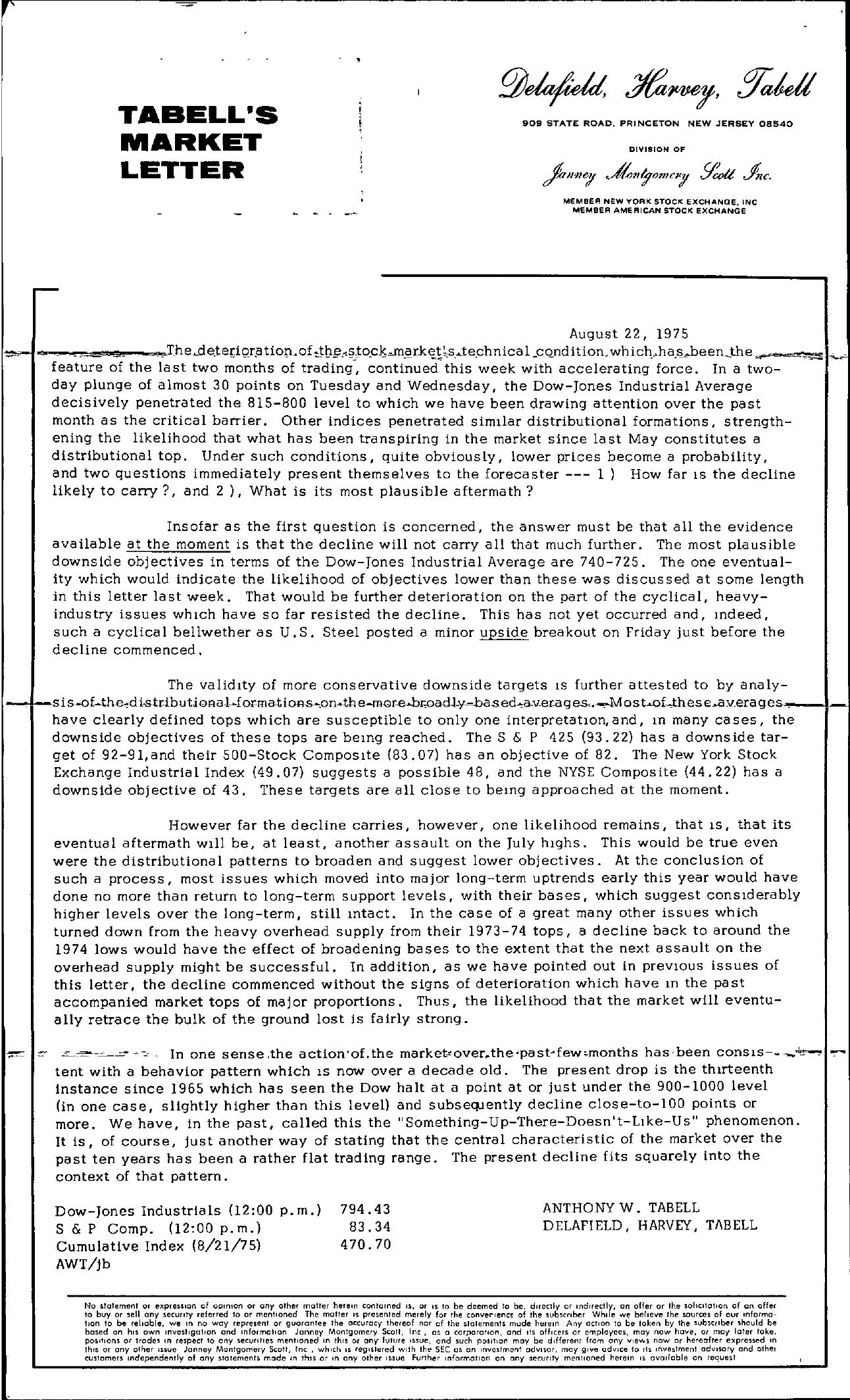 Tabell's Market Letter - August 22, 1975