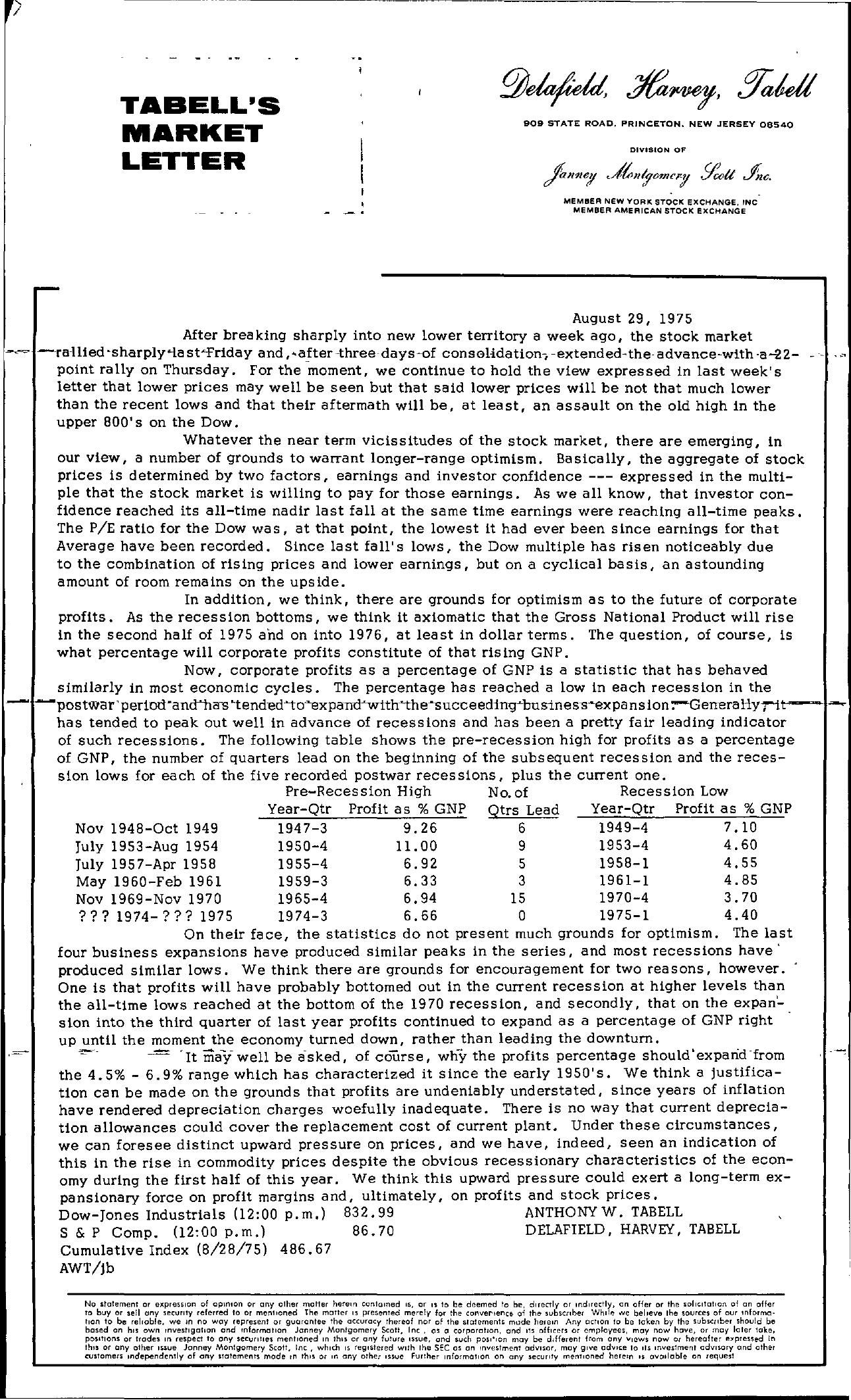 Tabell's Market Letter - August 29, 1975