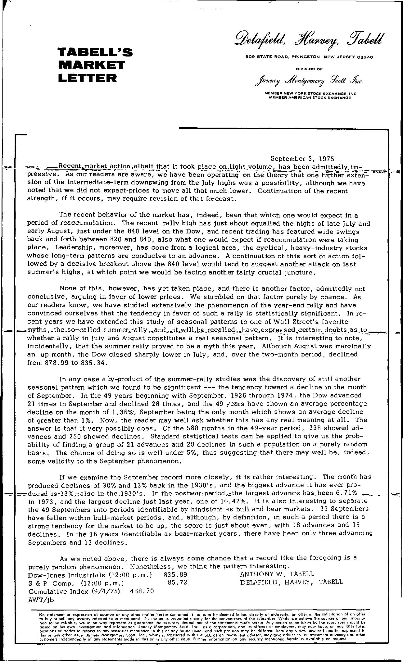 Tabell's Market Letter - September 05, 1975