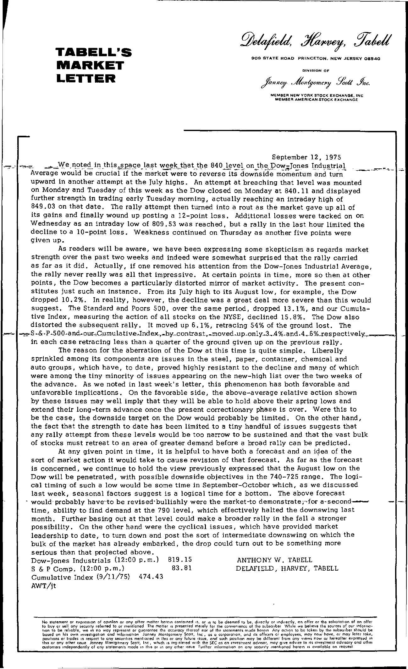 Tabell's Market Letter - September 12, 1975
