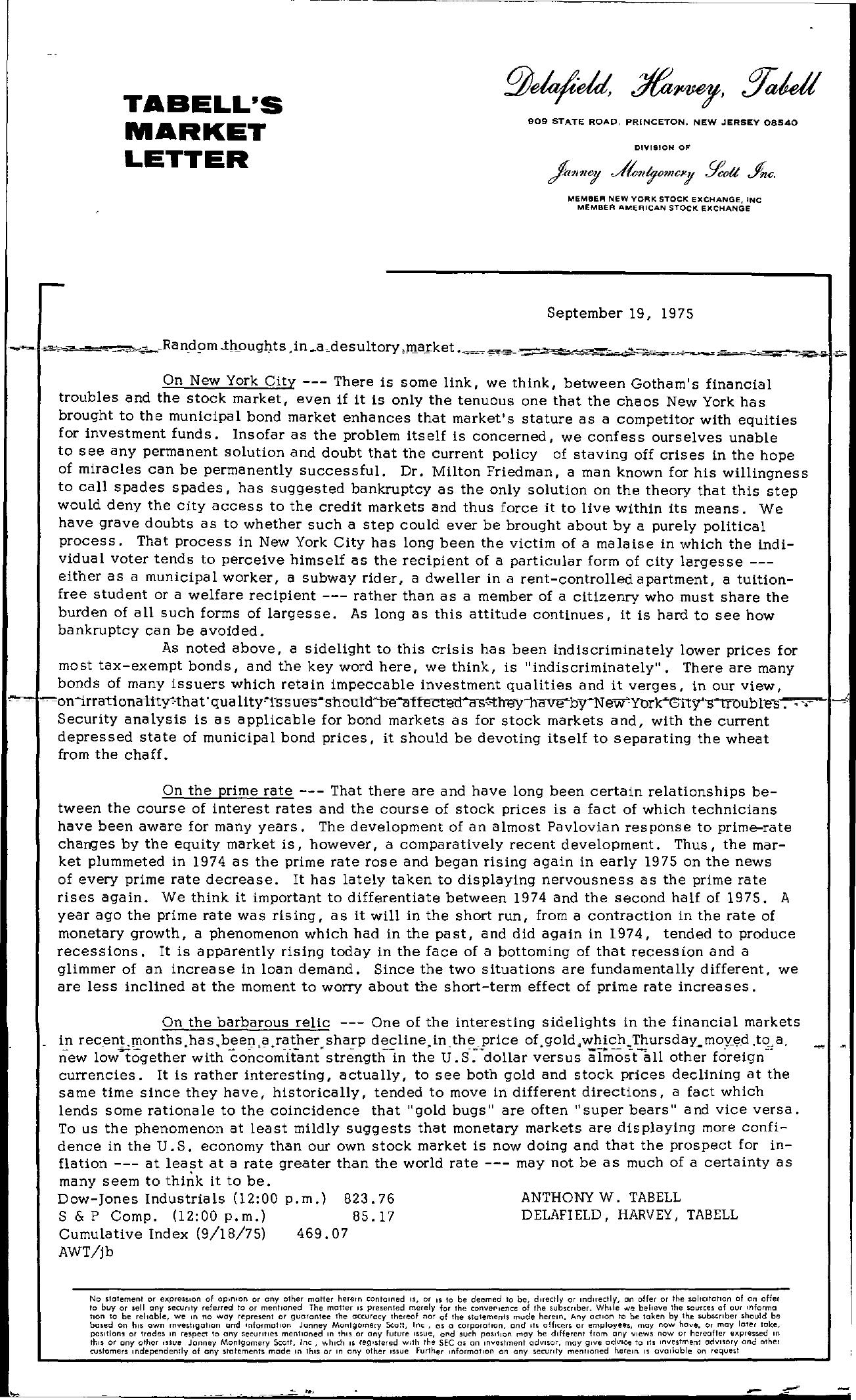 Tabell's Market Letter - September 19, 1975