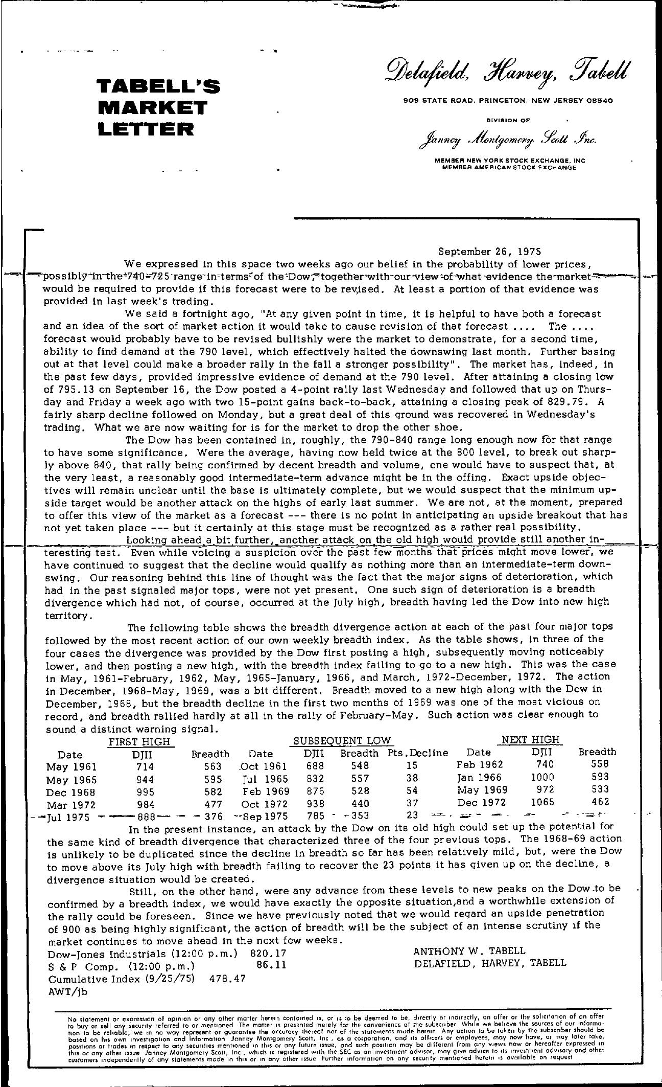 Tabell's Market Letter - September 26, 1975