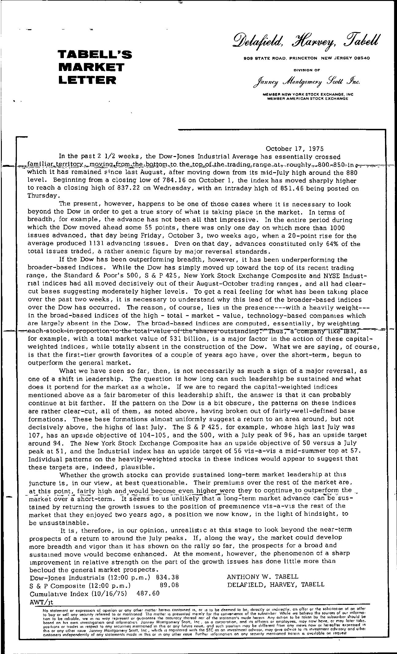 Tabell's Market Letter - October 17, 1975