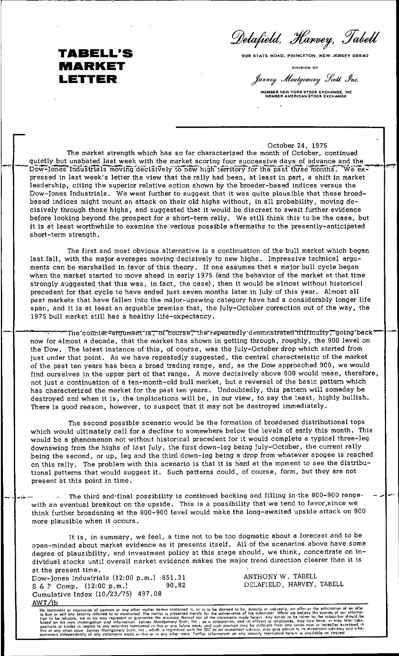 Tabell's Market Letter - October 24, 1975
