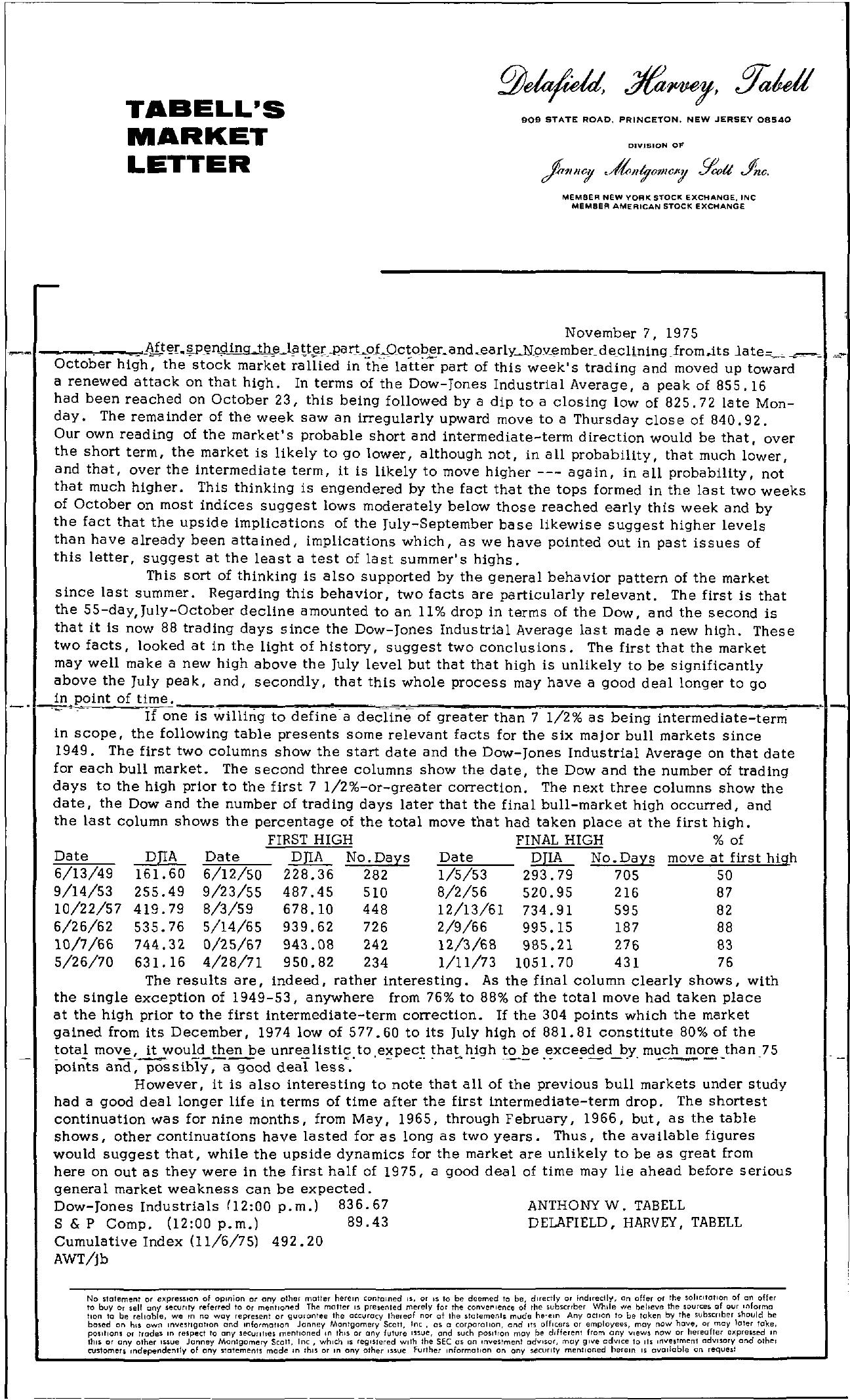 Tabell's Market Letter - November 07, 1975