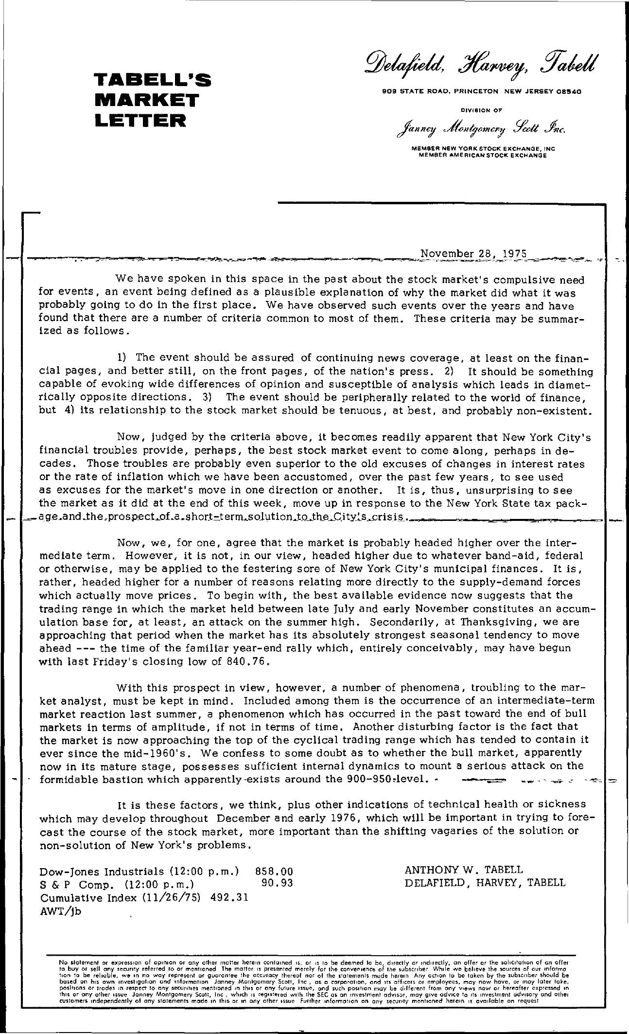 Tabell's Market Letter - November 28, 1975