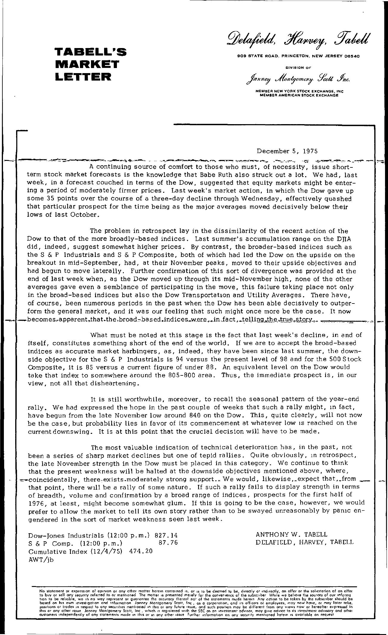 Tabell's Market Letter - December 05, 1975
