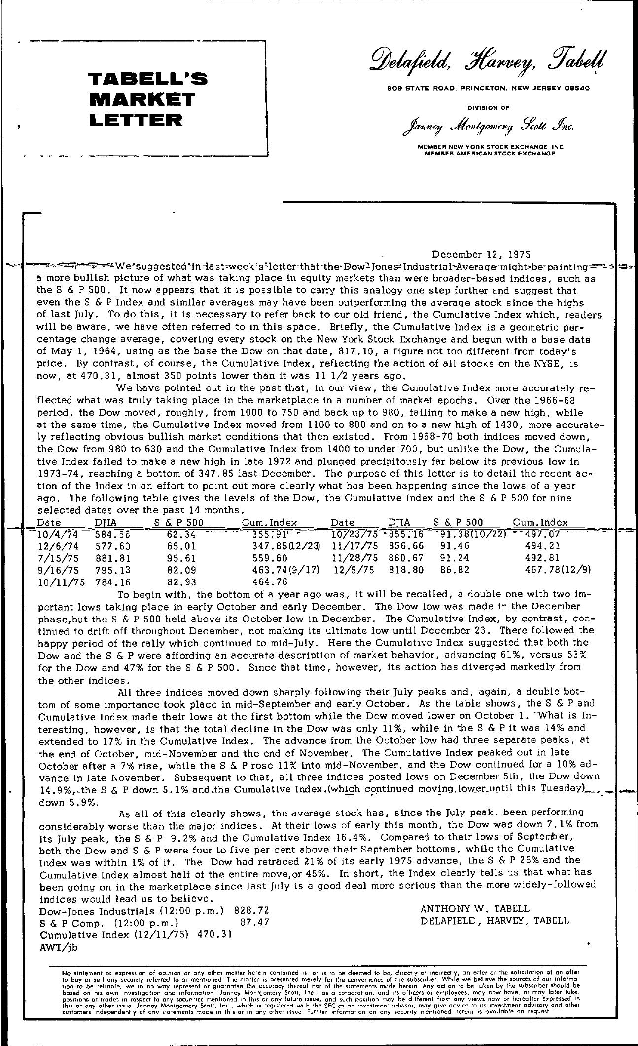 Tabell's Market Letter - December 12, 1975