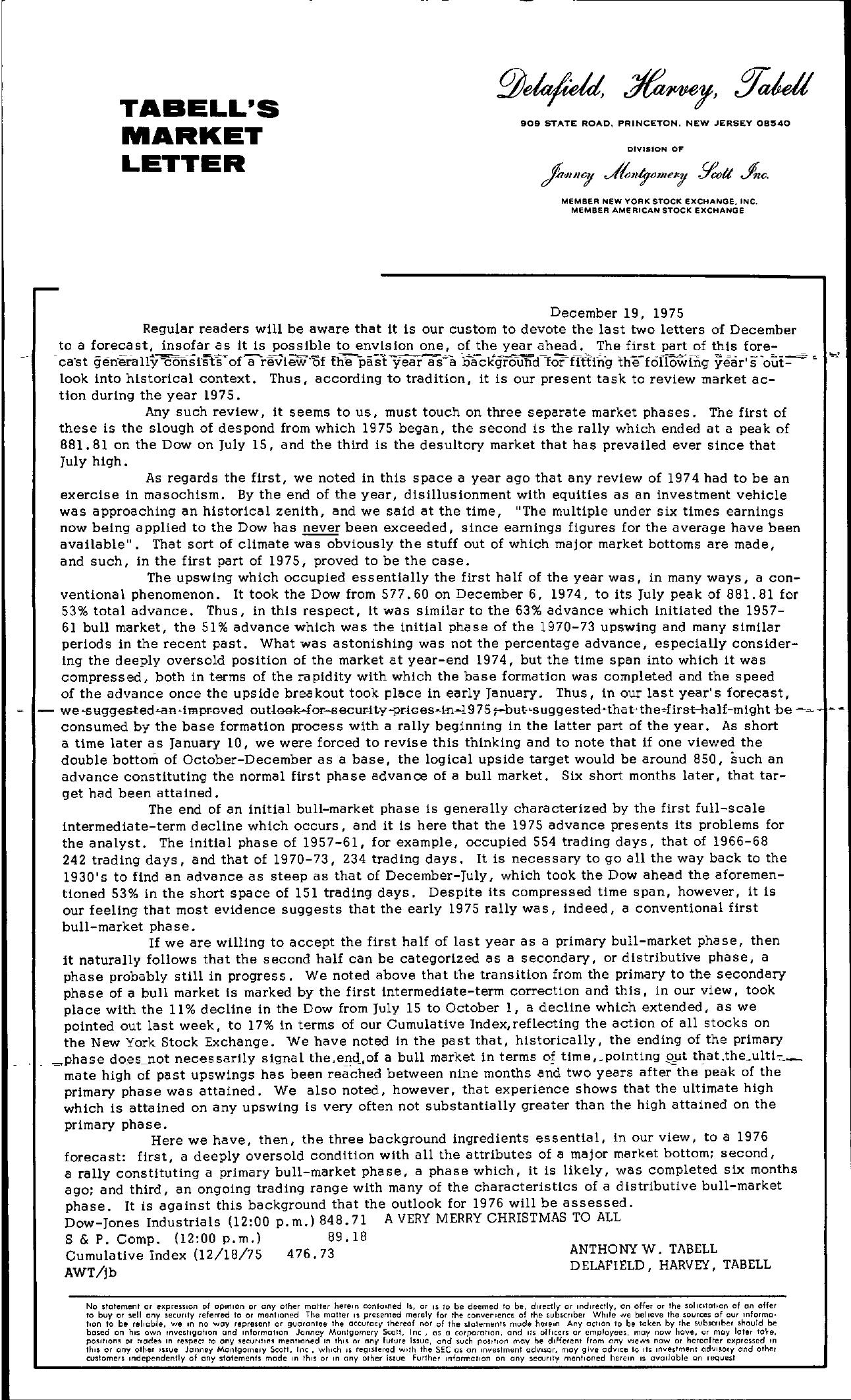Tabell's Market Letter - December 19, 1975