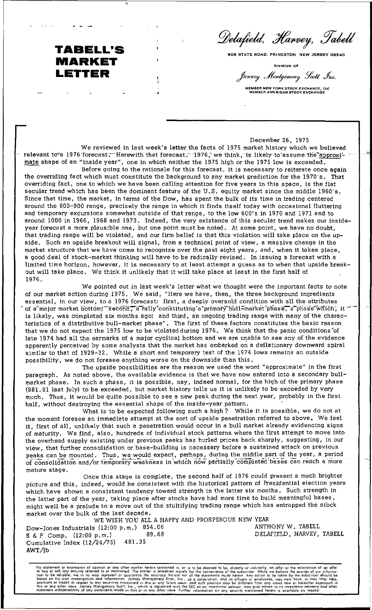 Tabell's Market Letter - December 26, 1975