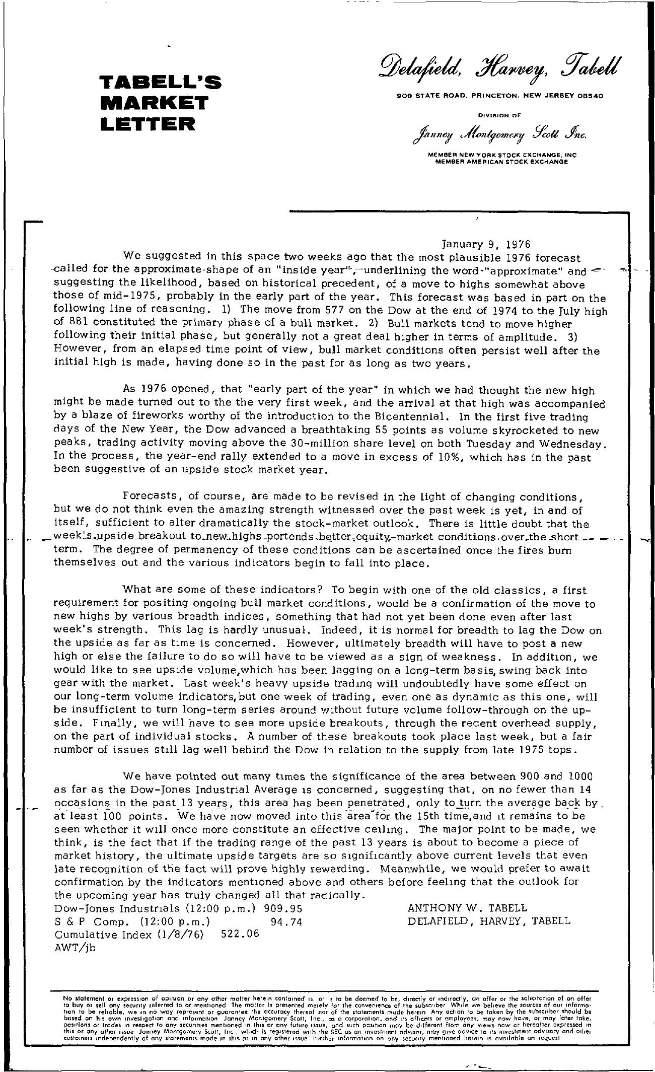 Tabell's Market Letter - January 09, 1976