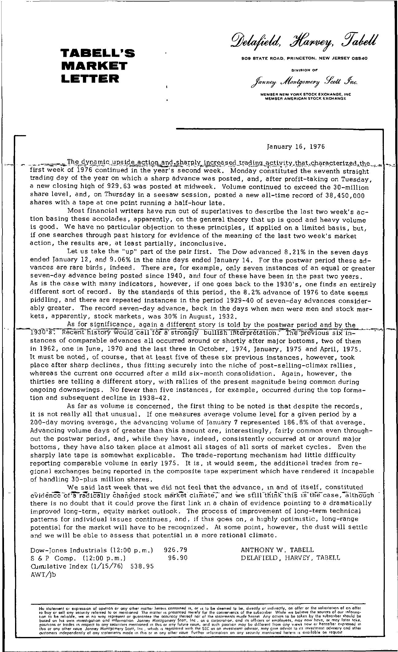 Tabell's Market Letter - January 16, 1976