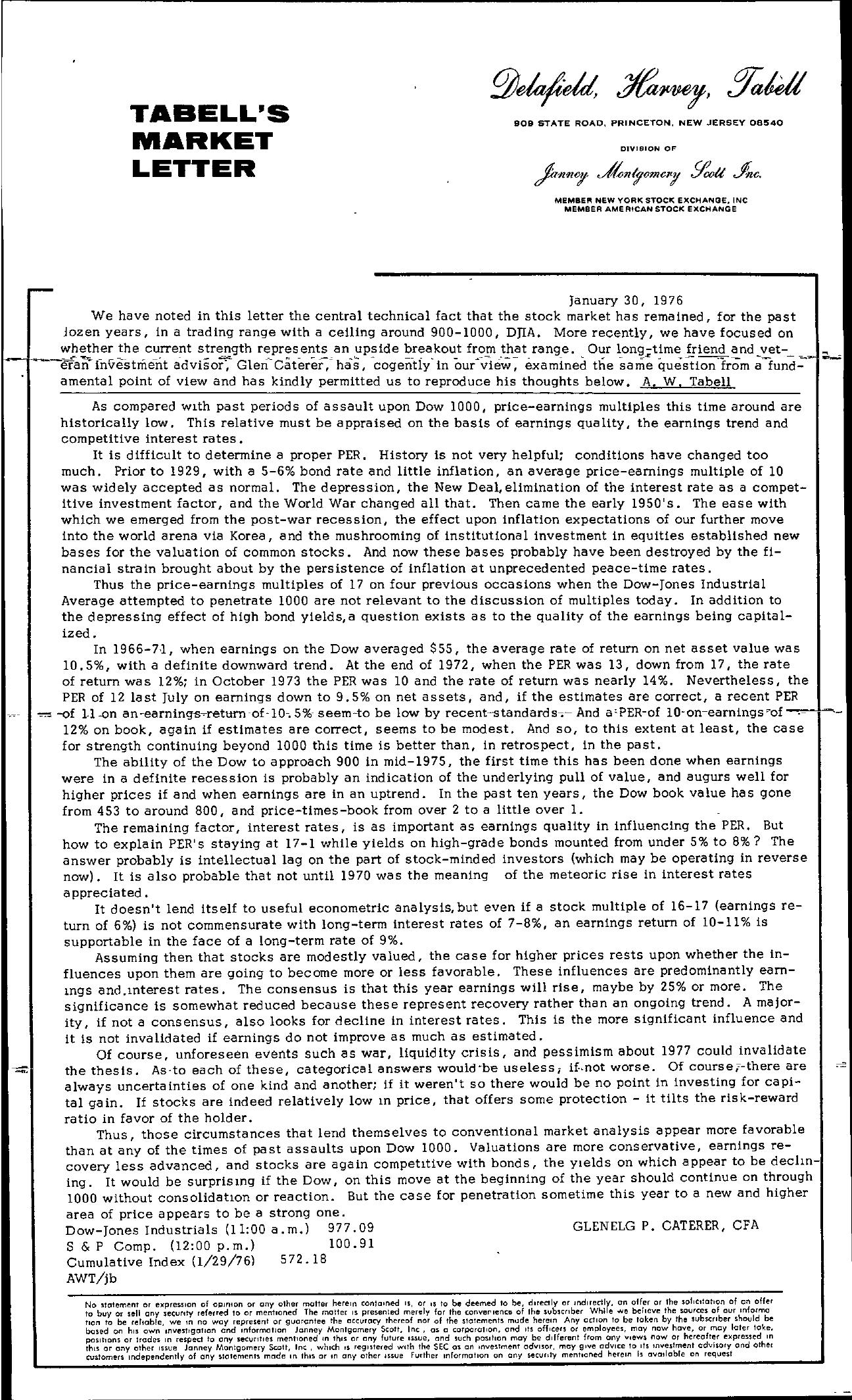 Tabell's Market Letter - January 30, 1976
