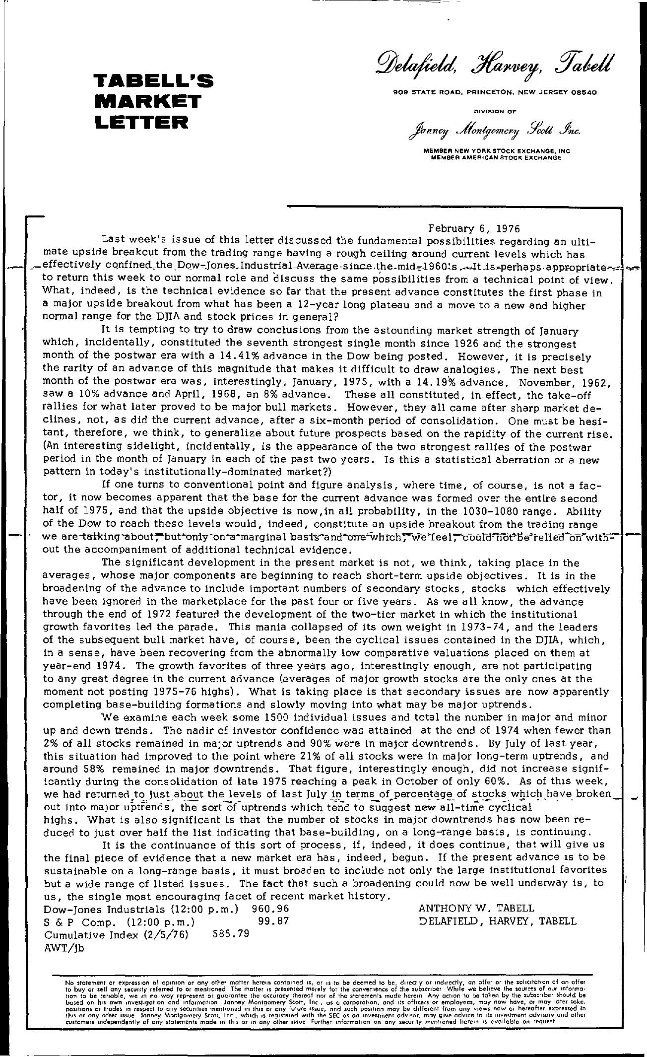 Tabell's Market Letter - February 06, 1976