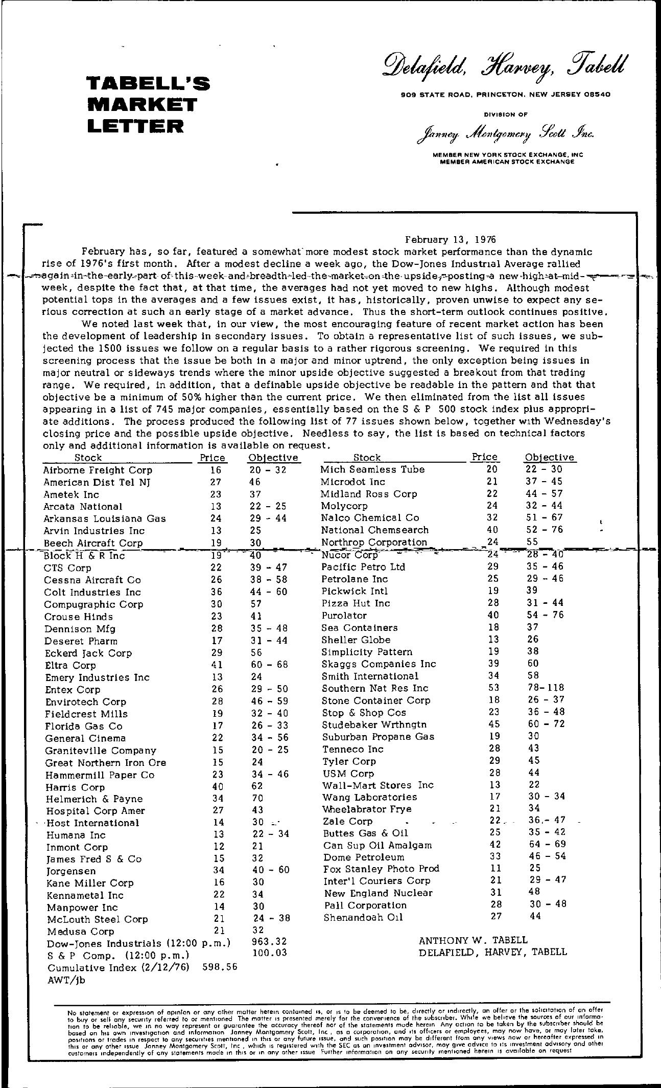 Tabell's Market Letter - February 13, 1976