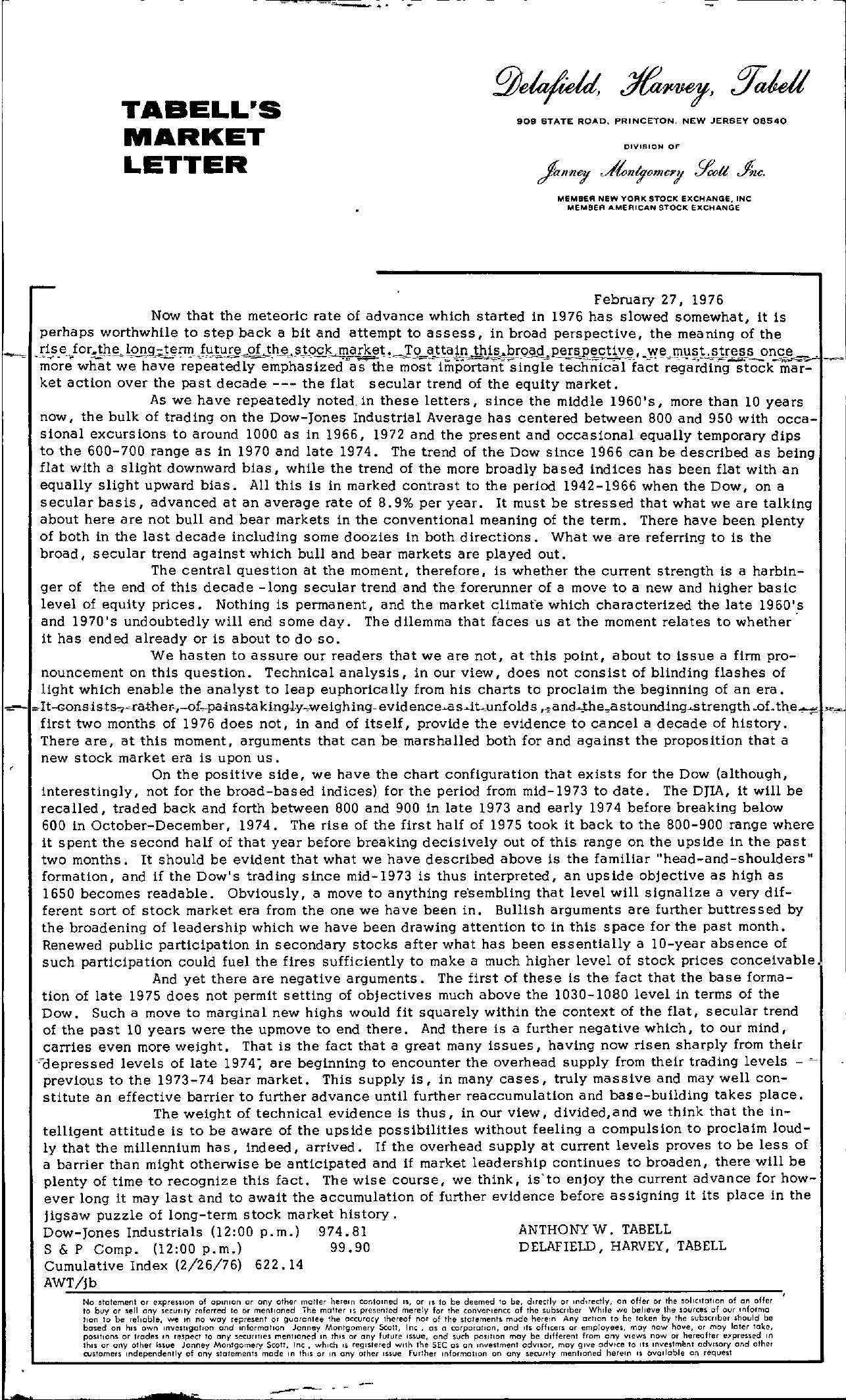 Tabell's Market Letter - February 27, 1976