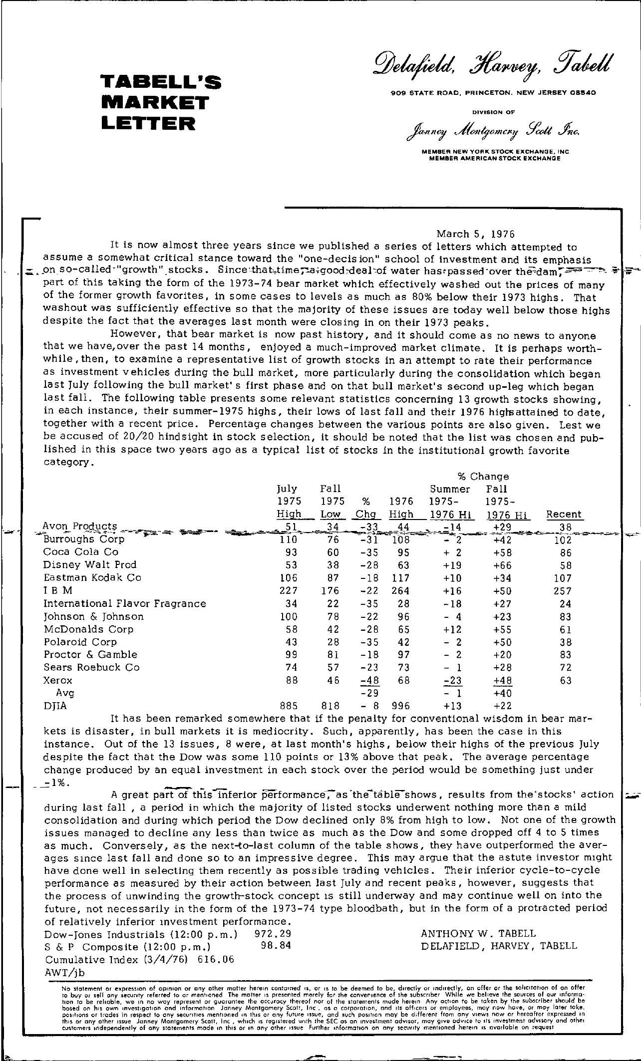 Tabell's Market Letter - March 05, 1976
